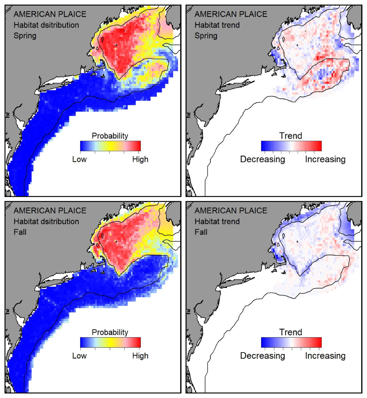 Probable habitat distribution for American plaice showing the highest concentration and increasing trend in the Gulf of Maine during the spring. Bottom row: Probable habitat distribution for American plaice showing the highest concentration and increasing trend in the Gulf of Maine during the fall.