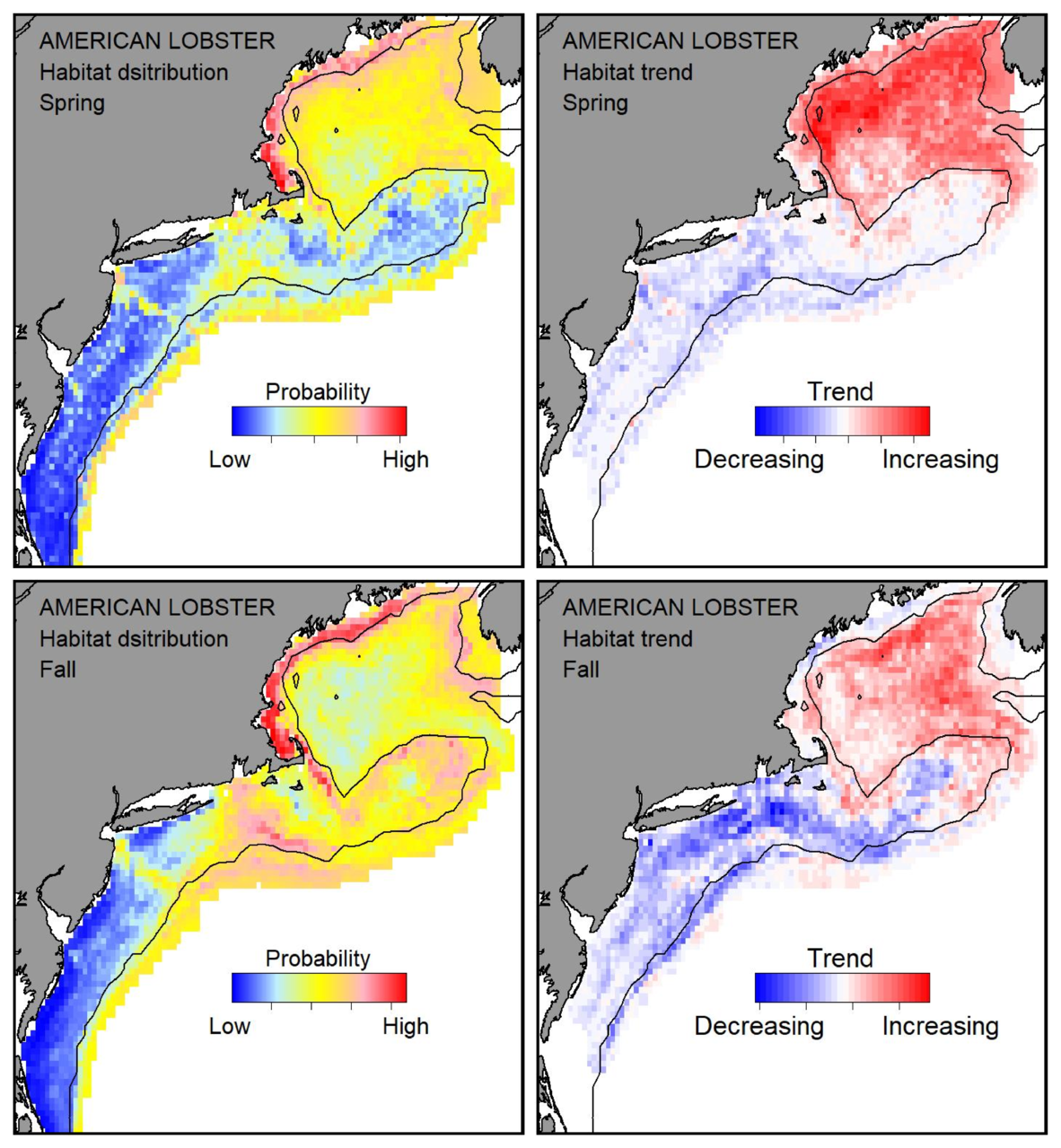 Probable habitat distribution for American lobster showing the highest concentration and increasing trend in the Gulf of Maine during the spring. Bottom row: Probable habitat distribution for American lobster showing the highest concentration and increasing trend in the Gulf of Maine during the fall.