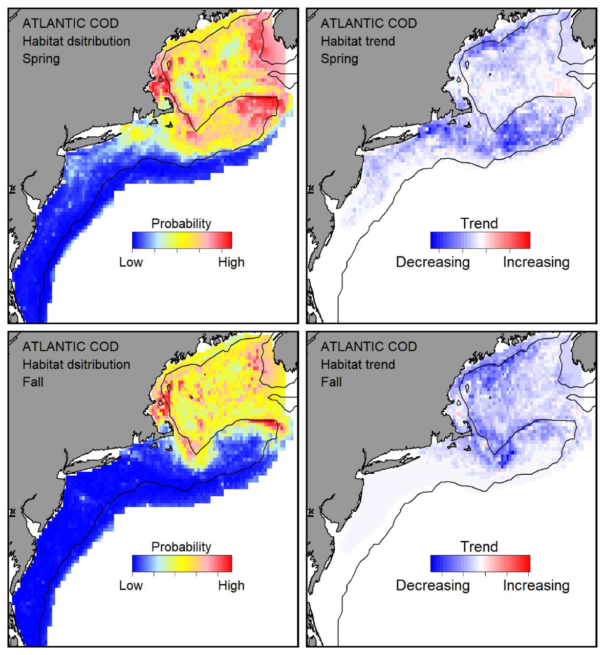 Top row: Probable habitat distribution for Atlantic cod showing the highest concentration and increasing trend in the Gulf of Maine during the spring. Bottom row: Probable habitat distribution for Atlantic cod showing the highest concentration and increasing trend in the Gulf of Maine during the fall.