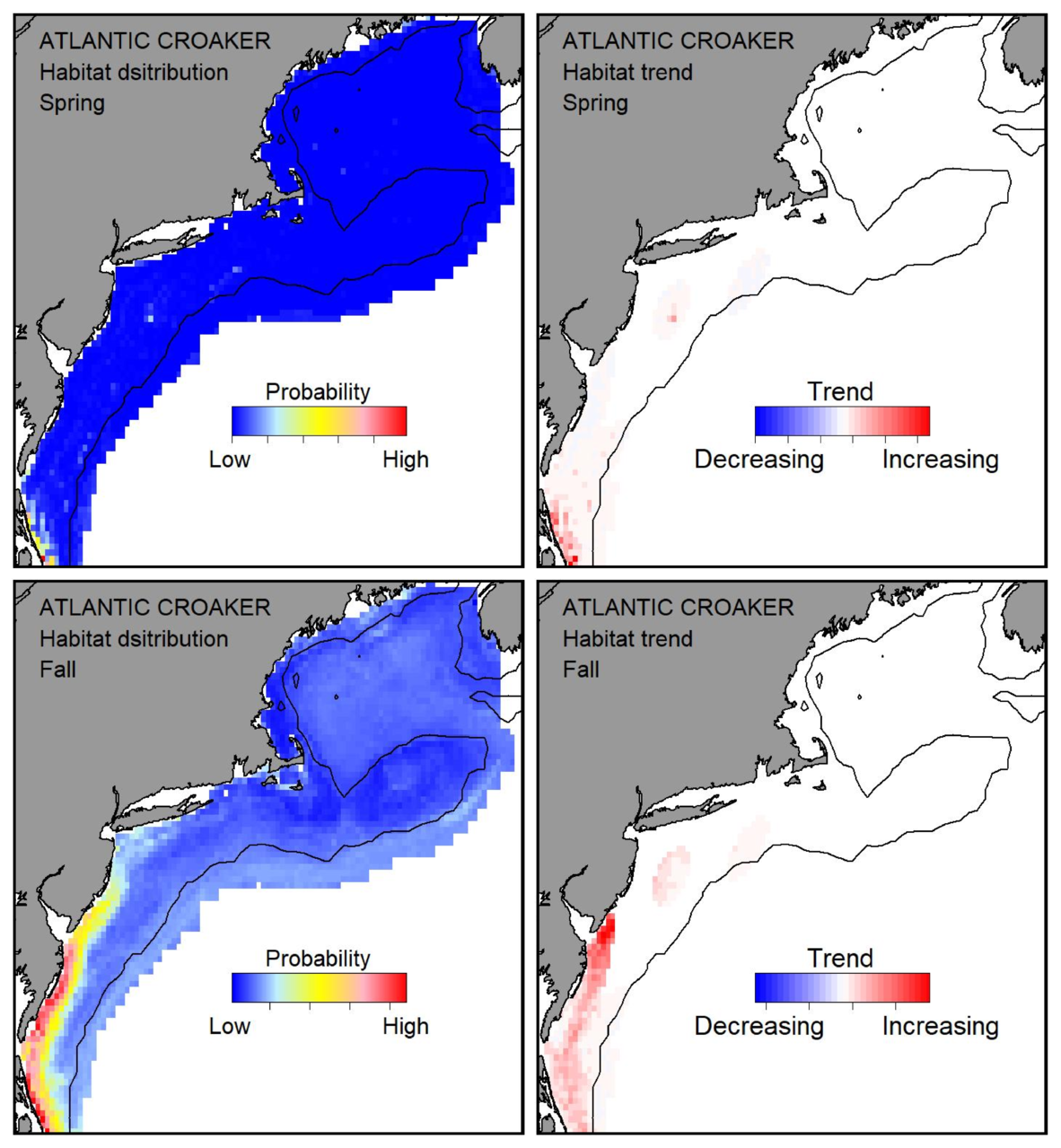 Probable habitat distribution for Atlantic croaker showing the highest concentration and increasing trend in the Gulf of Maine during the spring. Bottom row: Probable habitat distribution for Atlantic croaker showing the highest concentration and increasing trend in the Gulf of Maine during the fall.