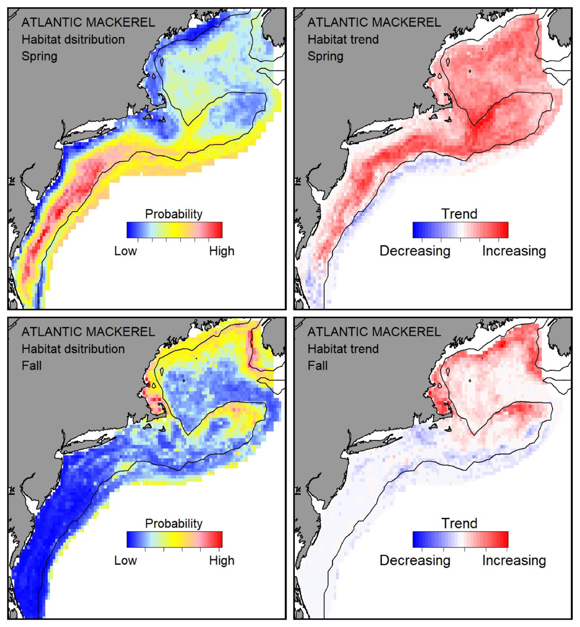 Probable habitat distribution for Atlantic mackerel showing the highest concentration and increasing trend in the Gulf of Maine during the spring. Bottom row: Probable habitat distribution for Atlantic mackerel showing the highest concentration and increasing trend in the Gulf of Maine during the fall.