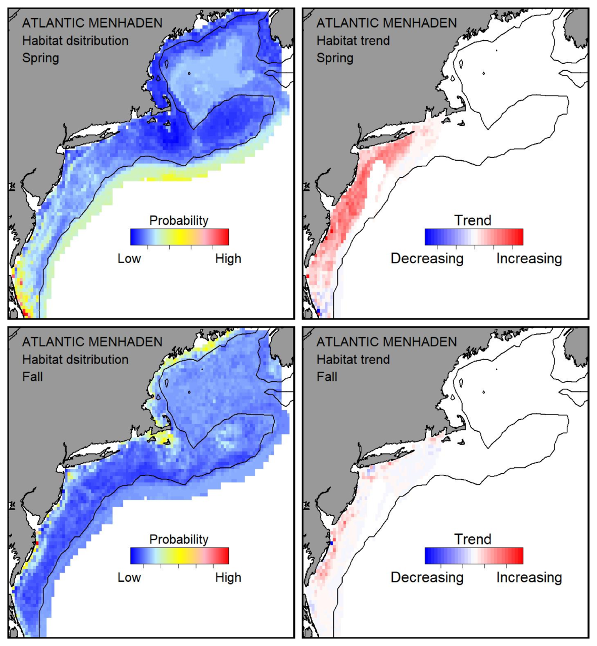 Top row: Probable habitat distribution for Atlantic menhaden showing the highest concentration and increasing trend in the Gulf of Maine during the spring. Bottom row: Probable habitat distribution for Atlantic menhaden showing the highest concentration and increasing trend in the Gulf of Maine during the fall.