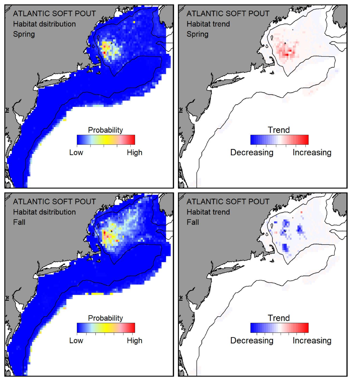 Probable habitat distribution for Atlantic soft pout showing the highest concentration and increasing trend in the Gulf of Maine during the spring. Bottom row: Probable habitat distribution for Atlantic soft pout showing the highest concentration and increasing trend in the Gulf of Maine during the fall.