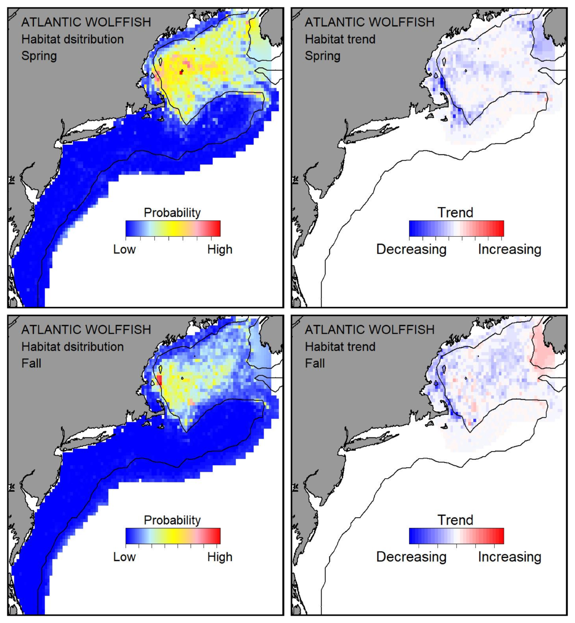 Probable habitat distribution for Atlantic wolffish showing the highest concentration and increasing trend in the Gulf of Maine during the spring. Bottom row: Probable habitat distribution for Atlantic wolffish showing the highest concentration and increasing trend in the Gulf of Maine during the fall.