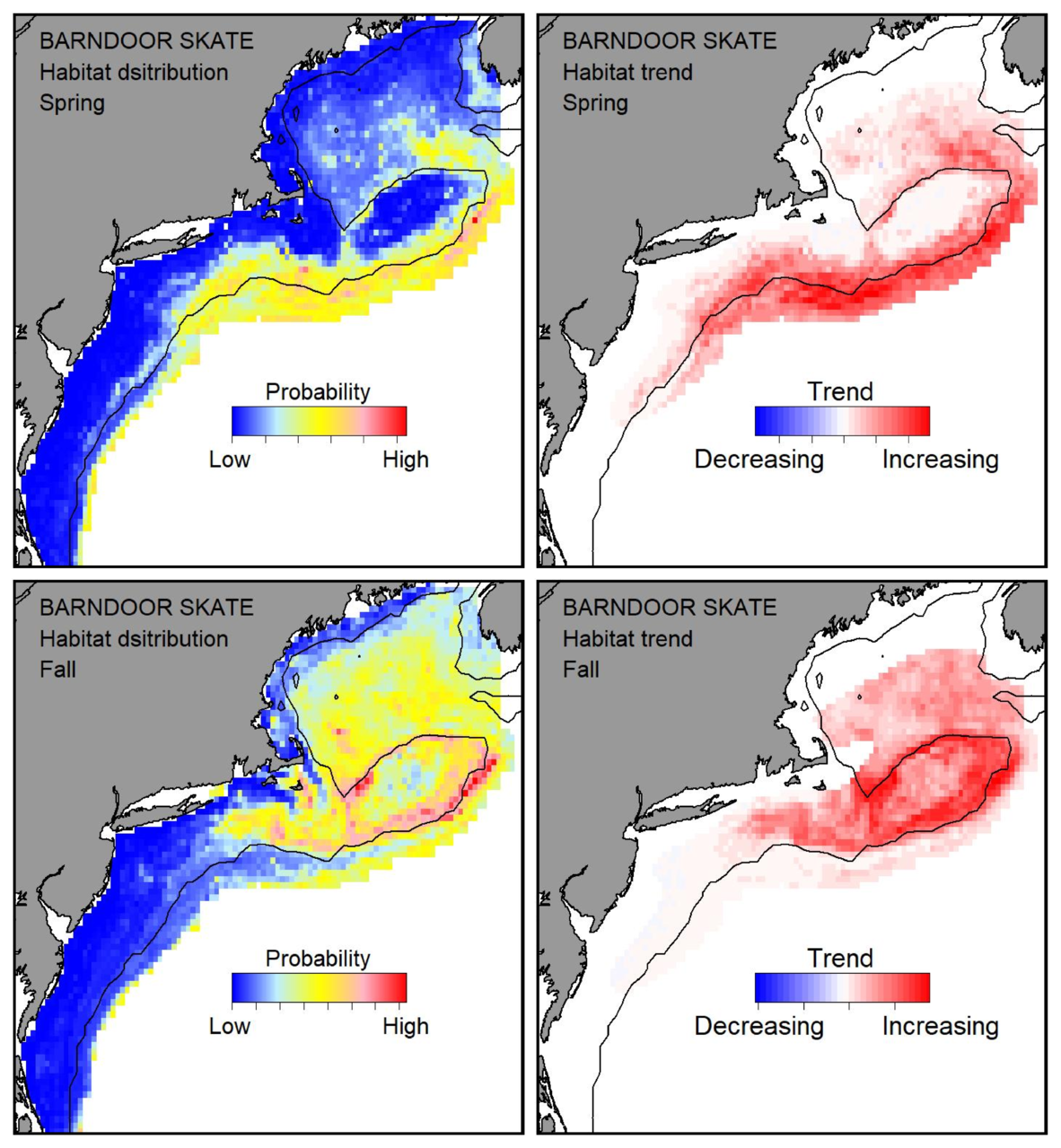 Top row: Probable habitat distribution for barndoor skate showing the highest concentration and increasing trend in the Gulf of Maine during the spring. Bottom row: Probable habitat distribution for barndoor skate showing the highest concentration and increasing trend in the Gulf of Maine during the fall.