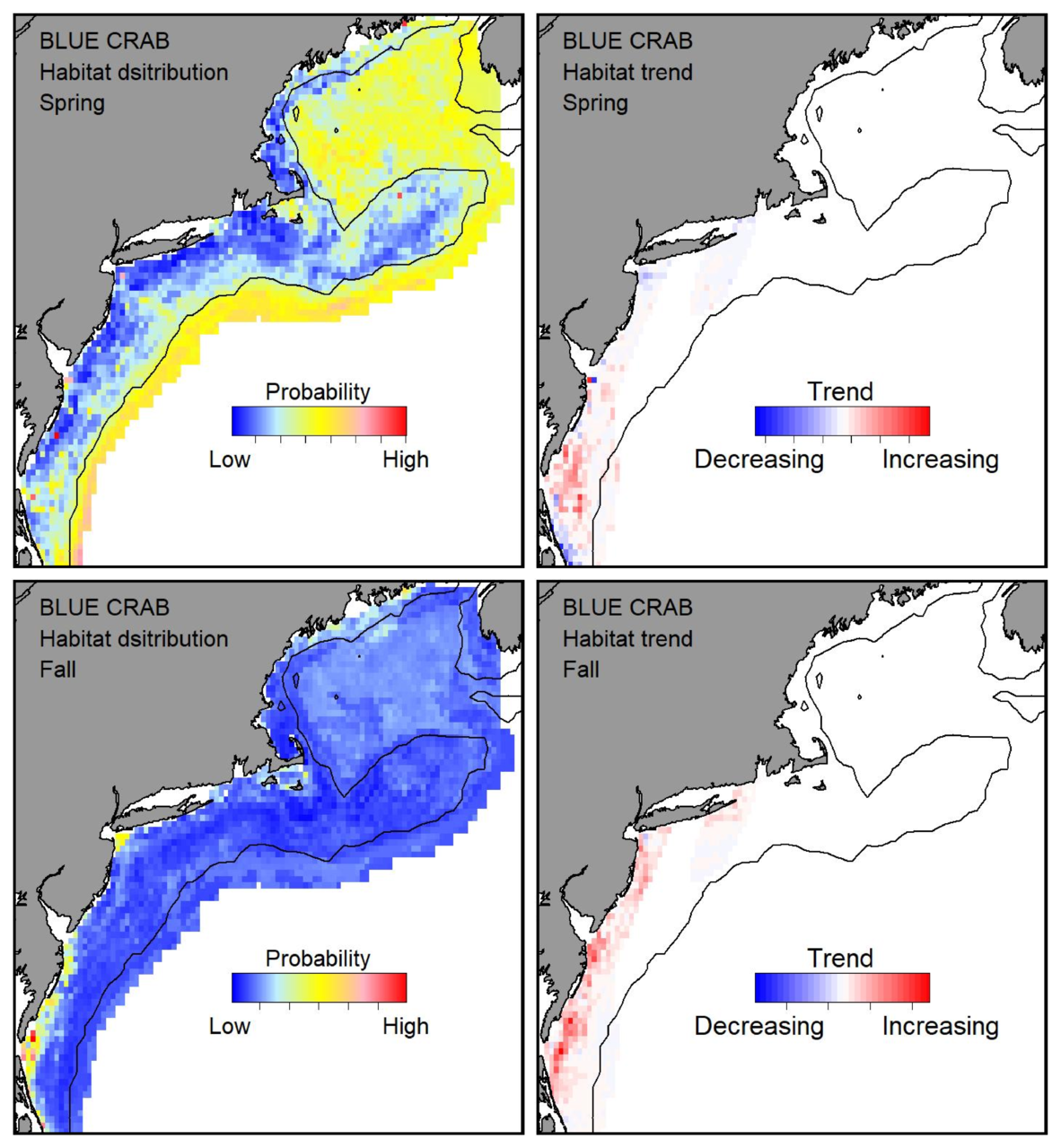 Probable habitat distribution for blue crab showing the highest concentration and increasing trend in the Gulf of Maine during the spring. Bottom row: Probable habitat distribution for blue crab showing the highest concentration and increasing trend in the Gulf of Maine during the fall.