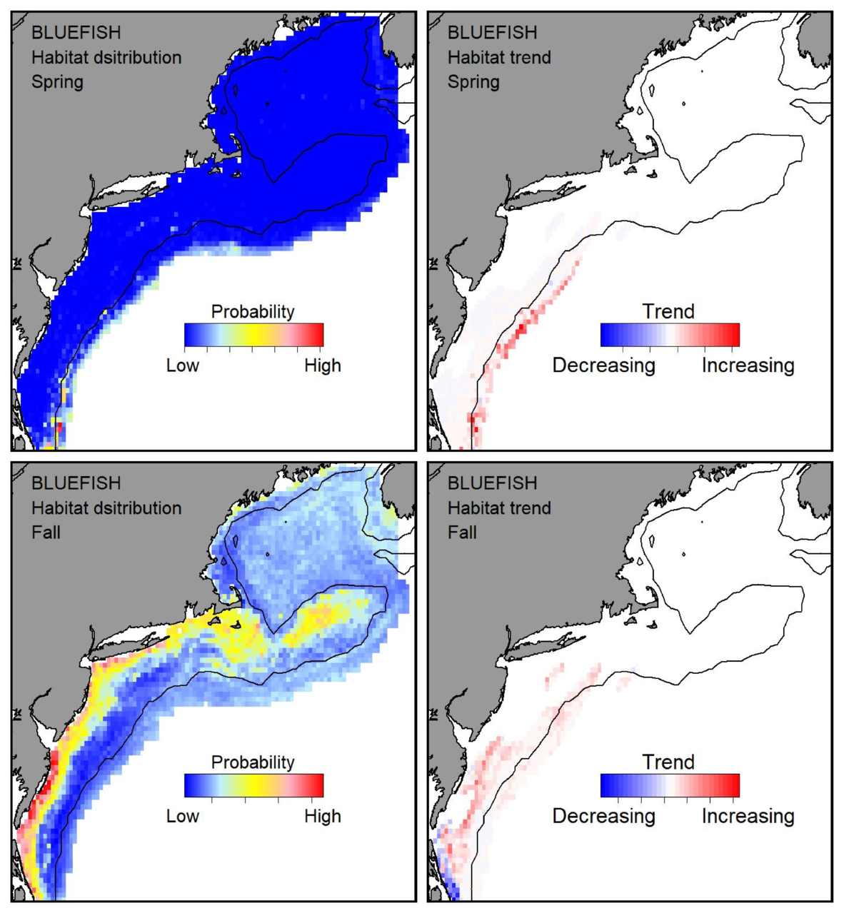 Probable habitat distribution for bluefish showing the highest concentration and increasing trend in the Gulf of Maine during the spring. Bottom row: Probable habitat distribution for bluefish showing the highest concentration and increasing trend in the Gulf of Maine during the fall.