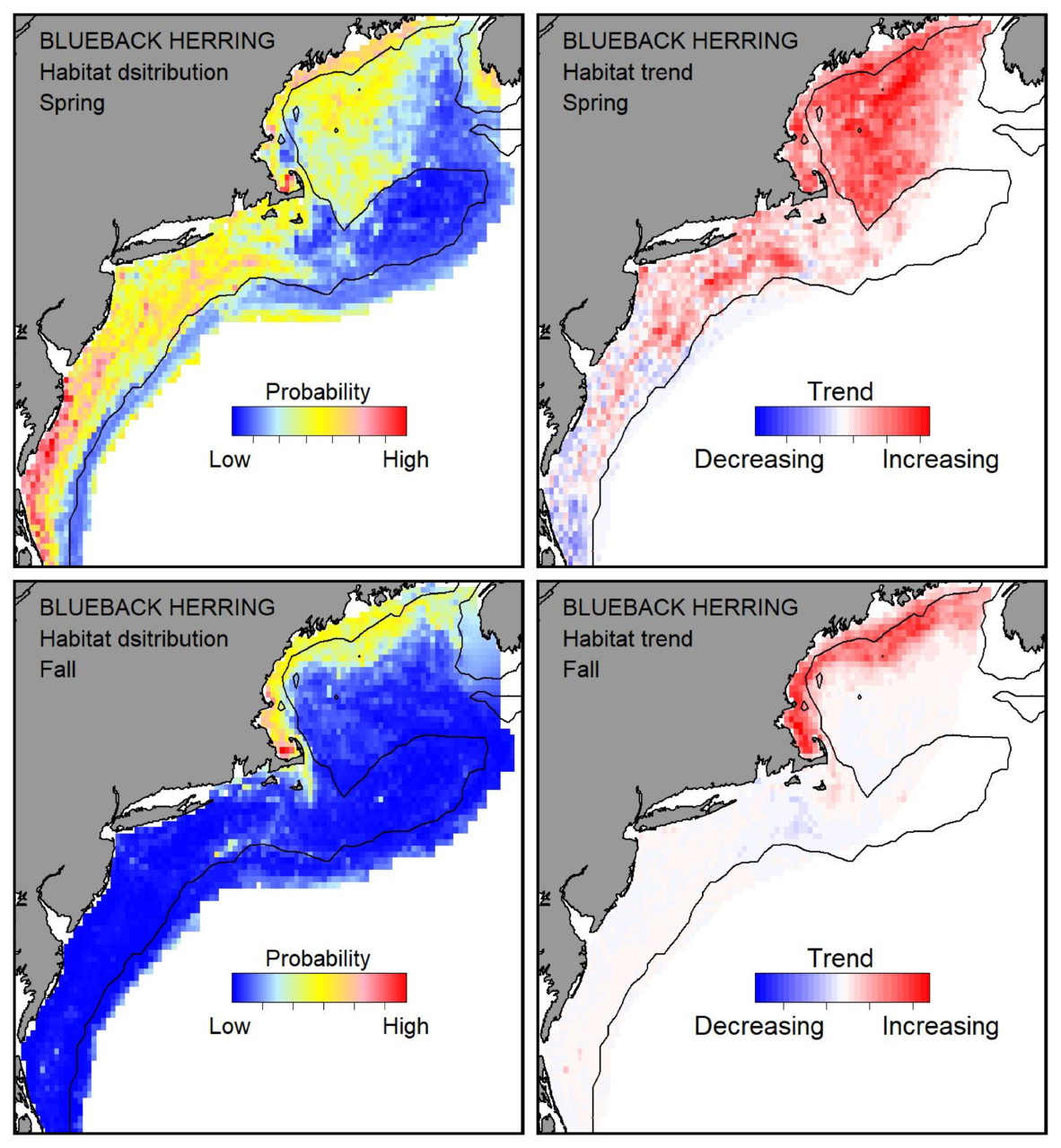 Top row: Probable habitat distribution for blueback herring showing the highest concentration and increasing trend in the Gulf of Maine during the spring. Bottom row: Probable habitat distribution for blueback herring showing the highest concentration and increasing trend in the Gulf of Maine during the fall.