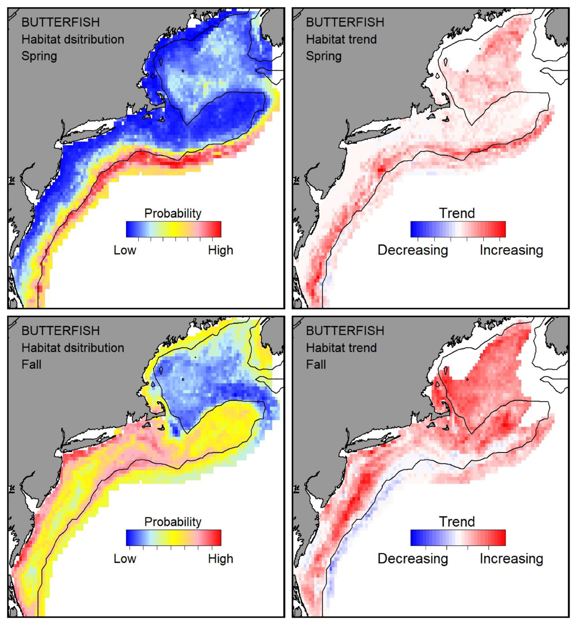 Probable habitat distribution for butterfish showing the highest concentration and increasing trend in the Gulf of Maine during the spring. Bottom row: Probable habitat distribution for butterfish showing the highest concentration and increasing trend in the Gulf of Maine during the fall.