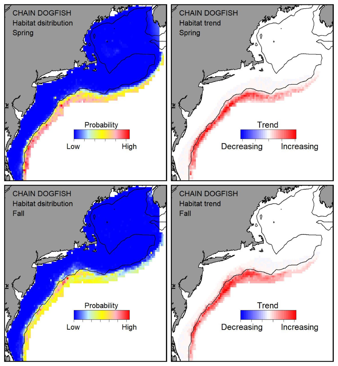 Top row: Probable habitat distribution for chain dogfish showing the highest concentration and increasing trend in the Gulf of Maine during the spring. Bottom row: Probable habitat distribution for chain dogfish showing the highest concentration and increasing trend in the Gulf of Maine during the fall.