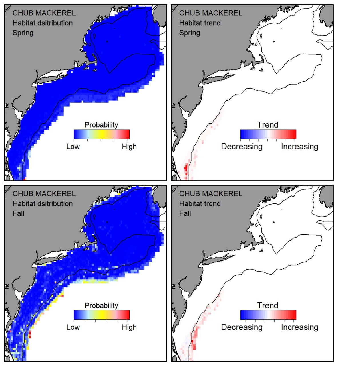 Probable habitat distribution for chub mackerel showing the highest concentration and increasing trend in the Gulf of Maine during the spring. Bottom row: Probable habitat distribution for chub mackerel showing the highest concentration and increasing trend in the Gulf of Maine during the fall.
