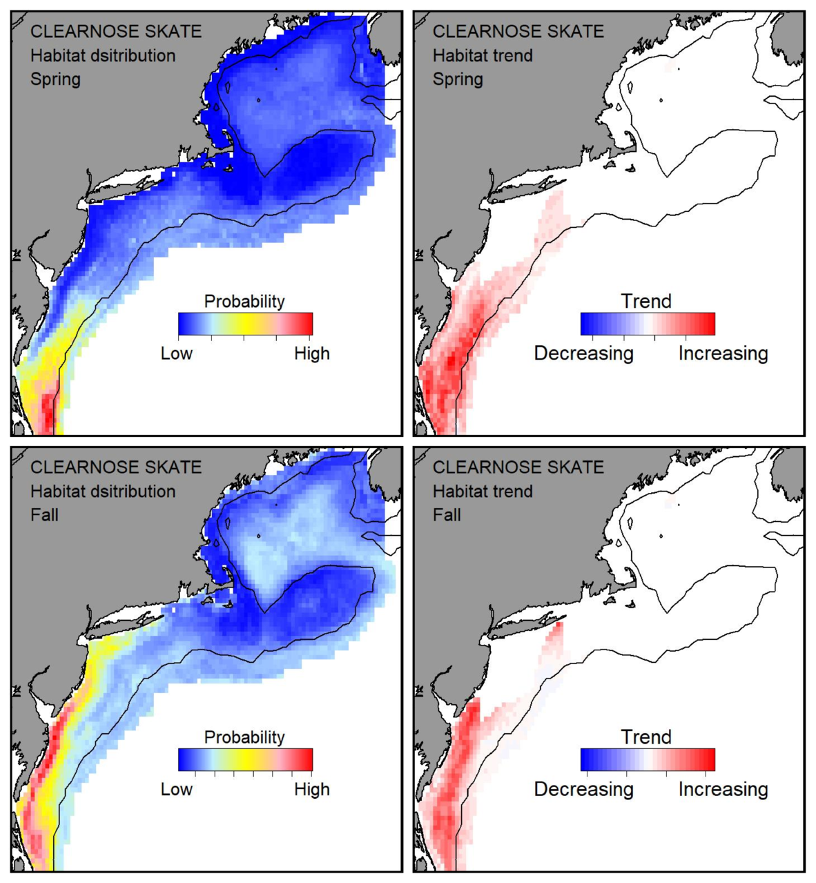 Top row: Probable habitat distribution for clearnose skate showing the highest concentration and increasing trend in the Gulf of Maine during the spring. Bottom row: Probable habitat distribution for clearnose skate showing the highest concentration and increasing trend in the Gulf of Maine during the fall.
