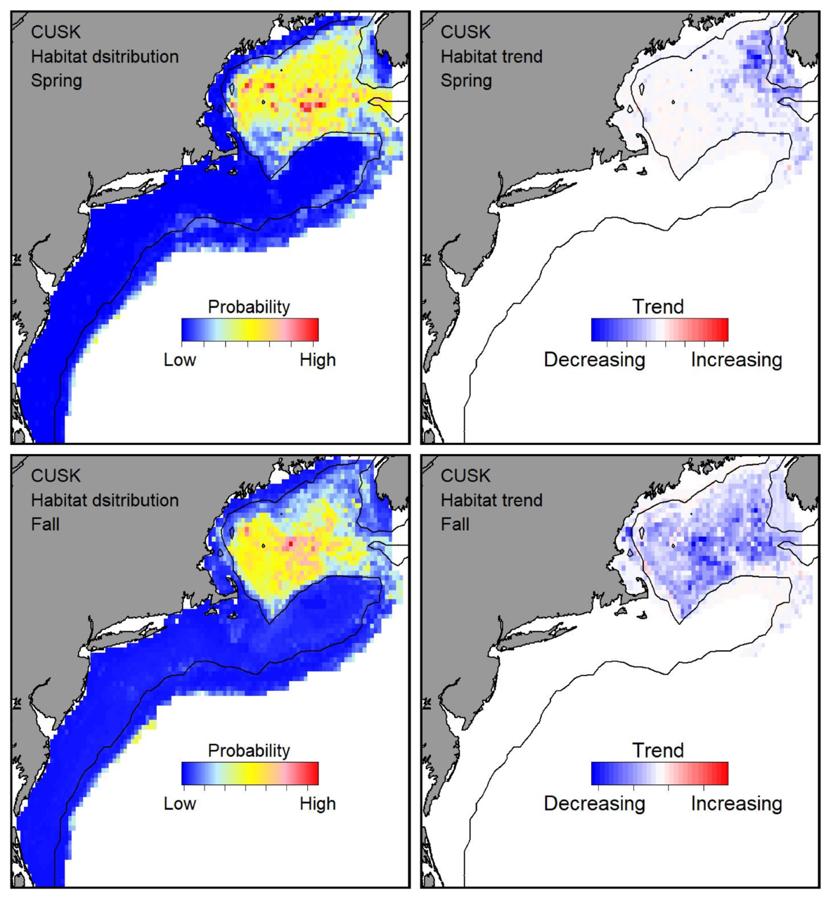 Probable habitat distribution for cusk showing the highest concentration and increasing trend in the Gulf of Maine during the spring. Bottom row: Probable habitat distribution for cusk showing the highest concentration and increasing trend in the Gulf of Maine during the fall.