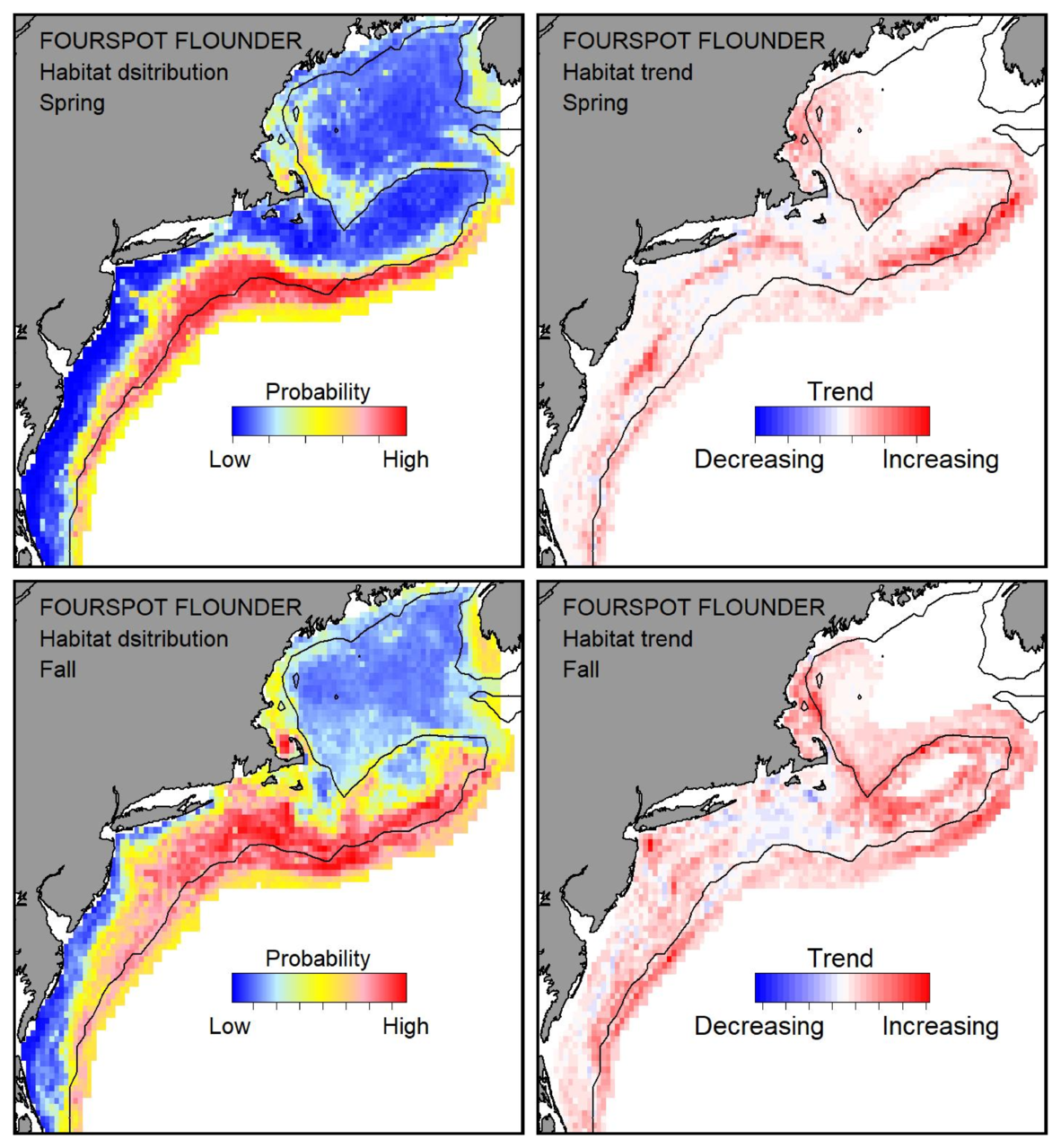 Probable habitat distribution for fourspot flounder showing the highest concentration and increasing trend in the Gulf of Maine during the spring. Bottom row: Probable habitat distribution for fourspot flounder showing the highest concentration and increasing trend in the Gulf of Maine during the fall.