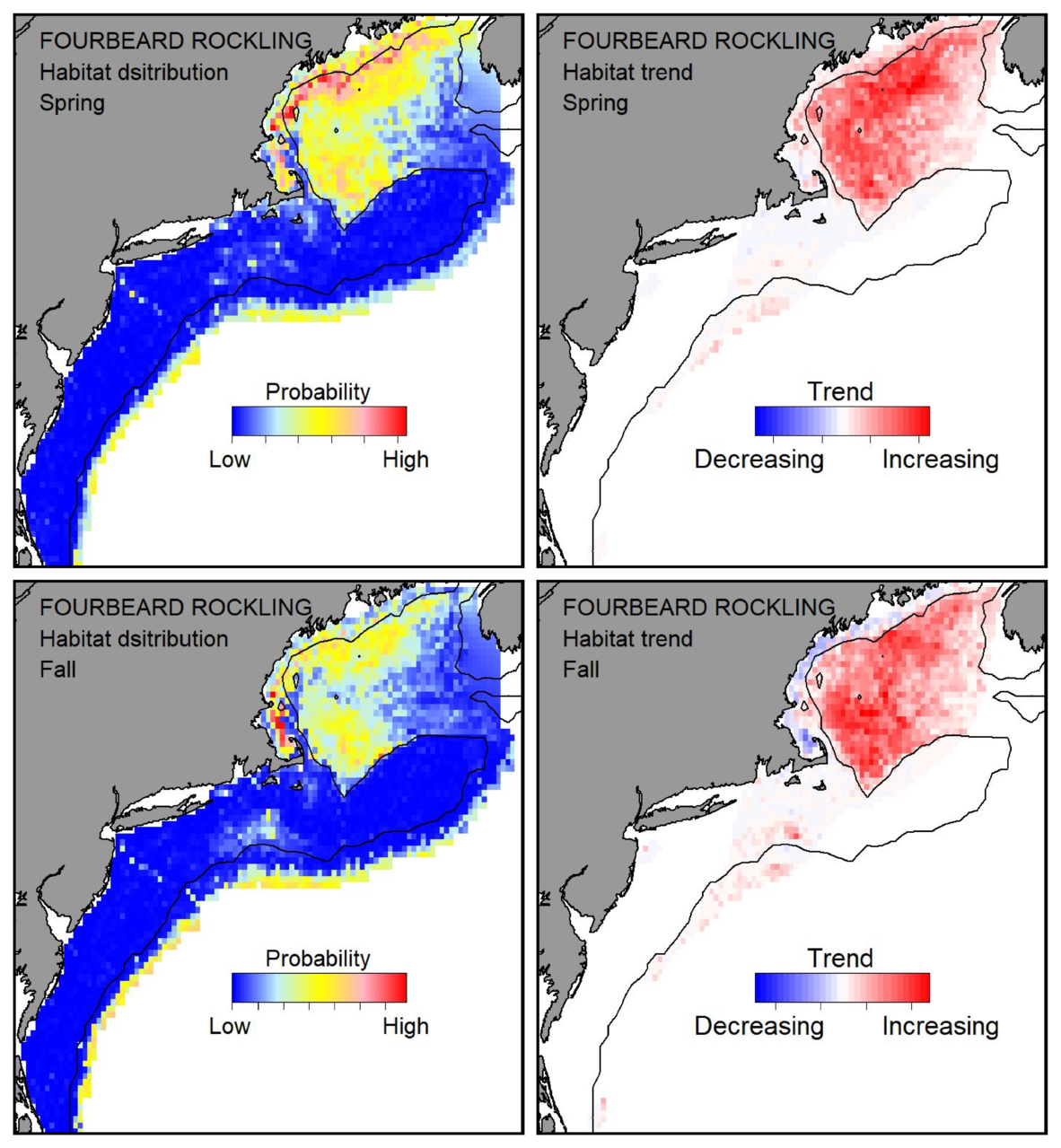 Top row: Probable habitat distribution for fourbeard rockling showing the highest concentration and increasing trend in the Gulf of Maine during the spring. Bottom row: Probable habitat distribution for fourbeard rockling showing the highest concentration and increasing trend in the Gulf of Maine during the fall.