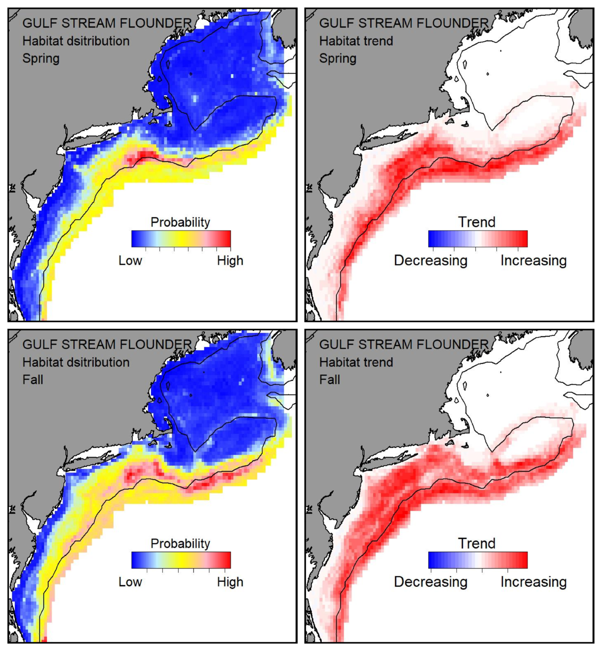 Probable habitat distribution for Gulf Stream flounder showing the highest concentration and increasing trend in the Gulf of Maine during the spring. Bottom row: Probable habitat distribution for Gulf Stream flounder showing the highest concentration and increasing trend in the Gulf of Maine during the fall.