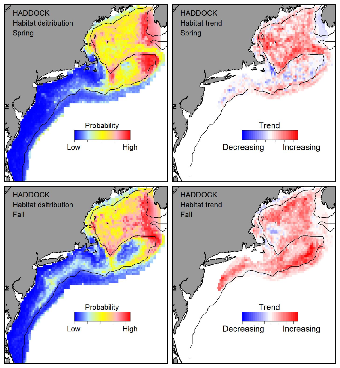 Top row: Probable habitat distribution for haddock showing the highest concentration and increasing trend in the Gulf of Maine during the spring. Bottom row: Probable habitat distribution for haddock showing the highest concentration and increasing trend in the Gulf of Maine during the fall.