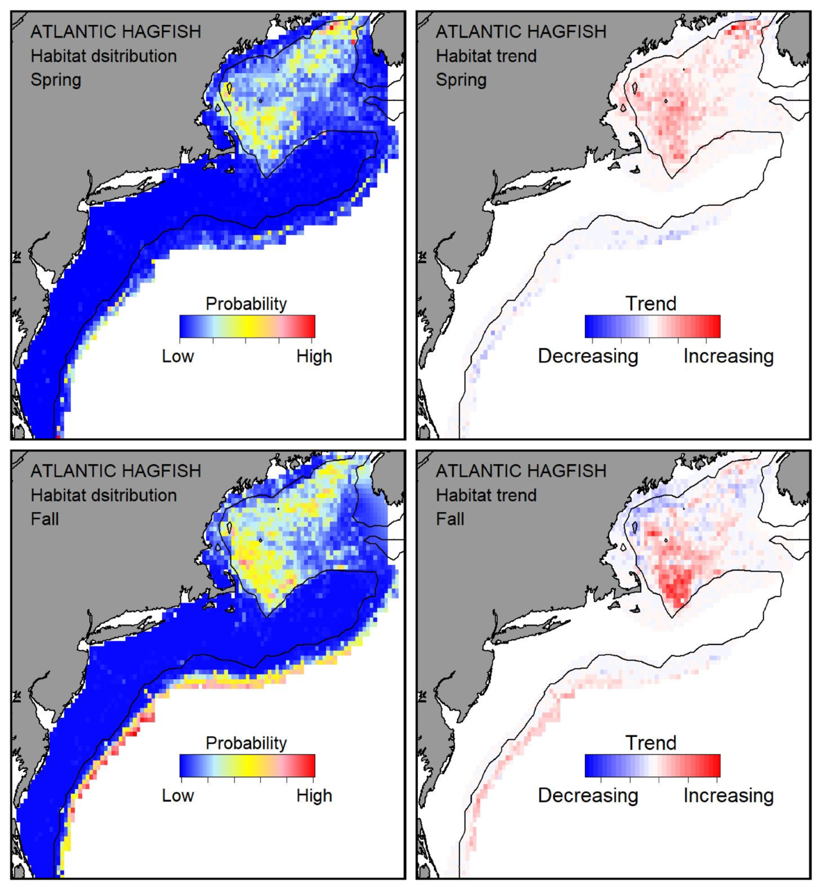 Top row: Probable habitat distribution for Atlantic hagfish showing the highest concentration and increasing trend in the Gulf of Maine during the spring. Bottom row: Probable habitat distribution for Atlantic hagfish showing the highest concentration and increasing trend in the Gulf of Maine during the fall.