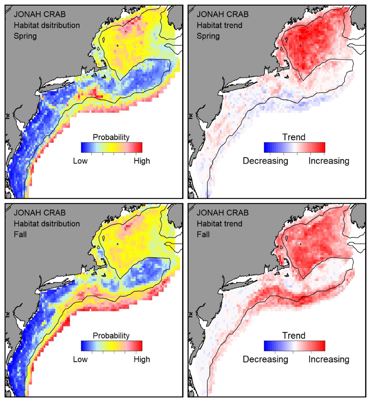 Probable habitat distribution for Jonah crab showing the highest concentration and increasing trend in the Gulf of Maine during the spring. Bottom row: Probable habitat distribution for Jonah crab showing the highest concentration and increasing trend in the Gulf of Maine during the fall.