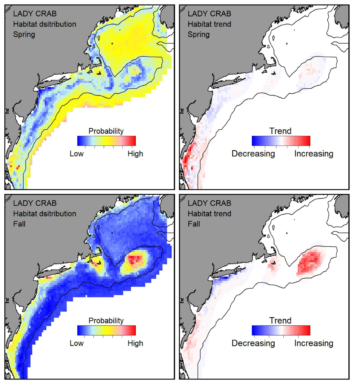 Probable habitat distribution for lady crab showing the highest concentration and increasing trend in the Gulf of Maine during the spring. Bottom row: Probable habitat distribution for lady crab showing the highest concentration and increasing trend in the Gulf of Maine during the fall.