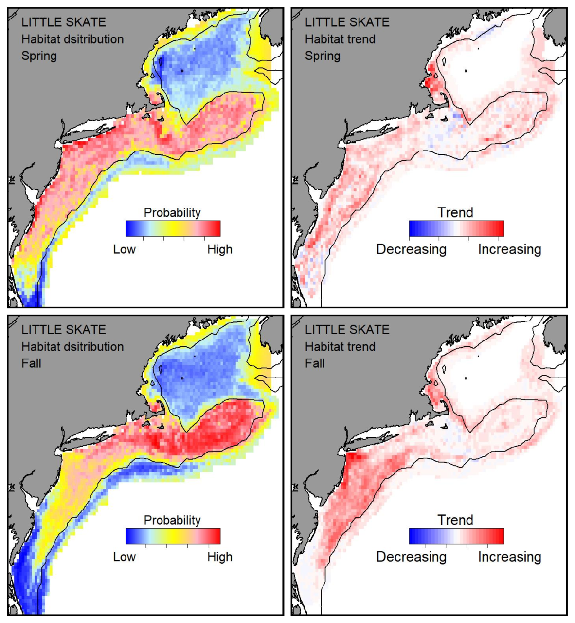 Top row: Probable habitat distribution for little skate showing the highest concentration and increasing trend in the Gulf of Maine during the spring. Bottom row: Probable habitat distribution for little skate showing the highest concentration and increasing trend in the Gulf of Maine during the fall.