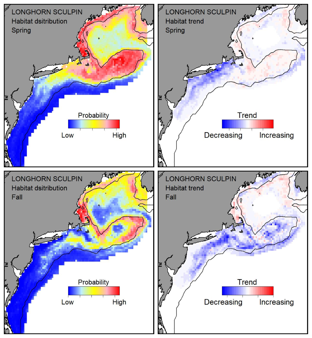 Probable habitat distribution for longhorn sculpin showing the highest concentration and increasing trend in the Gulf of Maine during the spring. Bottom row: Probable habitat distribution for longhorn sculpin showing the highest concentration and increasing trend in the Gulf of Maine during the fall.
