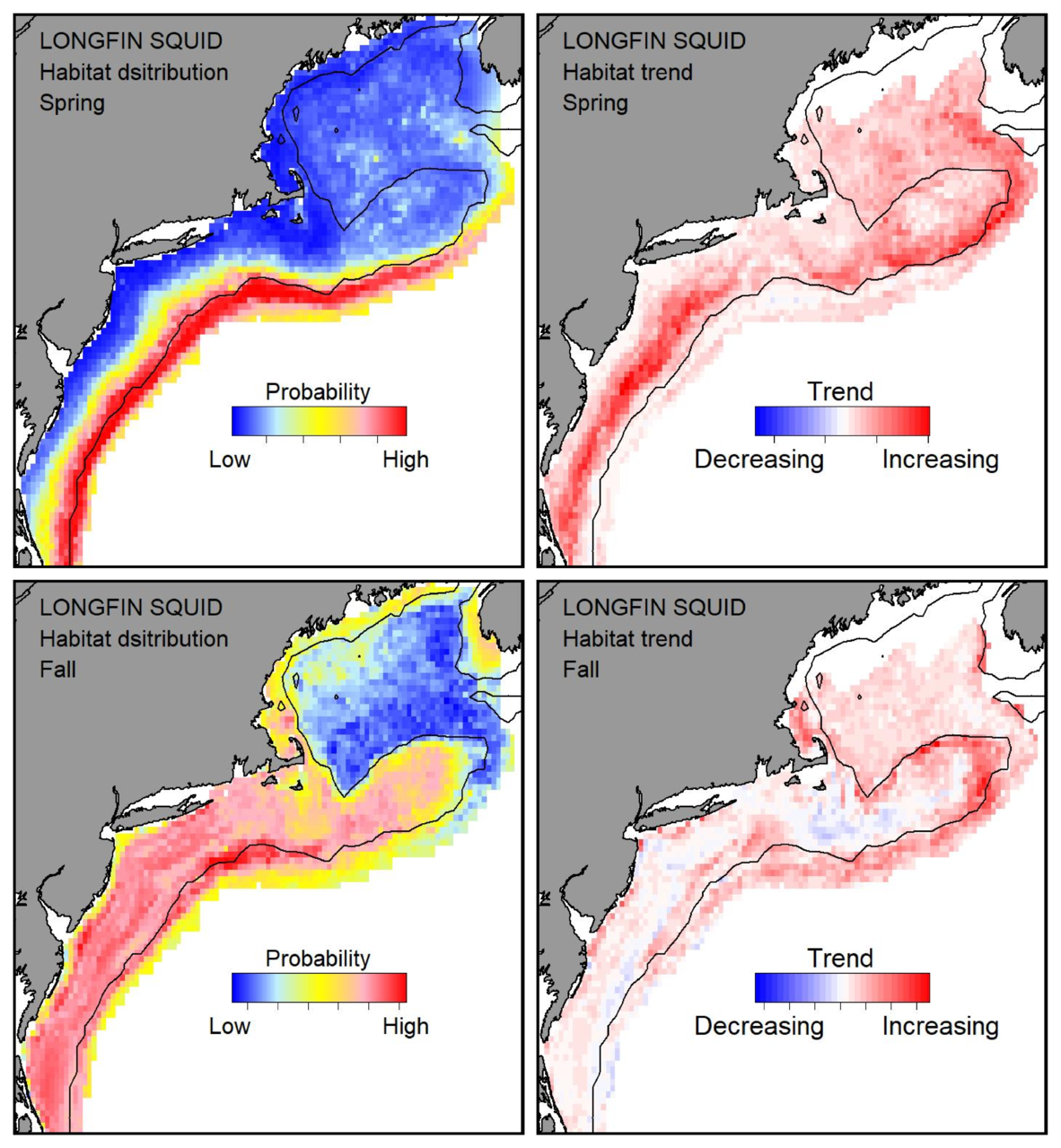 Probable habitat distribution for longfin squid showing the highest concentration and increasing trend in the Gulf of Maine during the spring. Bottom row: Probable habitat distribution for longfin squid showing the highest concentration and increasing trend in the Gulf of Maine during the fall.
