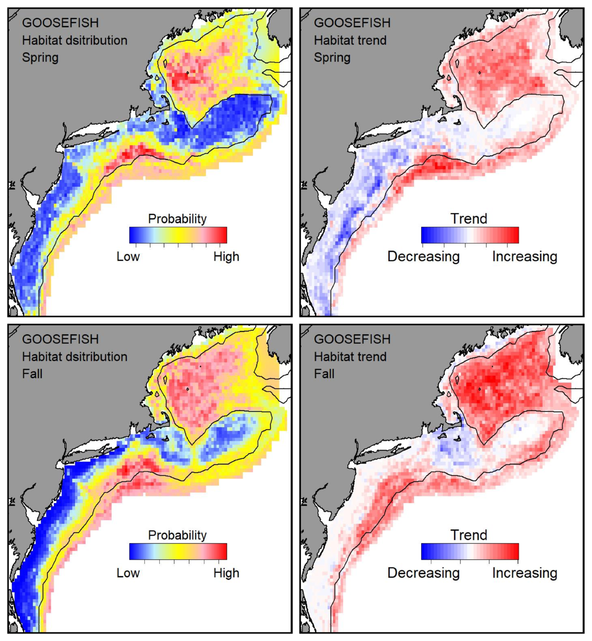 Probable habitat distribution for goosefish showing the highest concentration and increasing trend in the Gulf of Maine during the spring. Bottom row: Probable habitat distribution for goosefish showing the highest concentration and increasing trend in the Gulf of Maine during the fall.