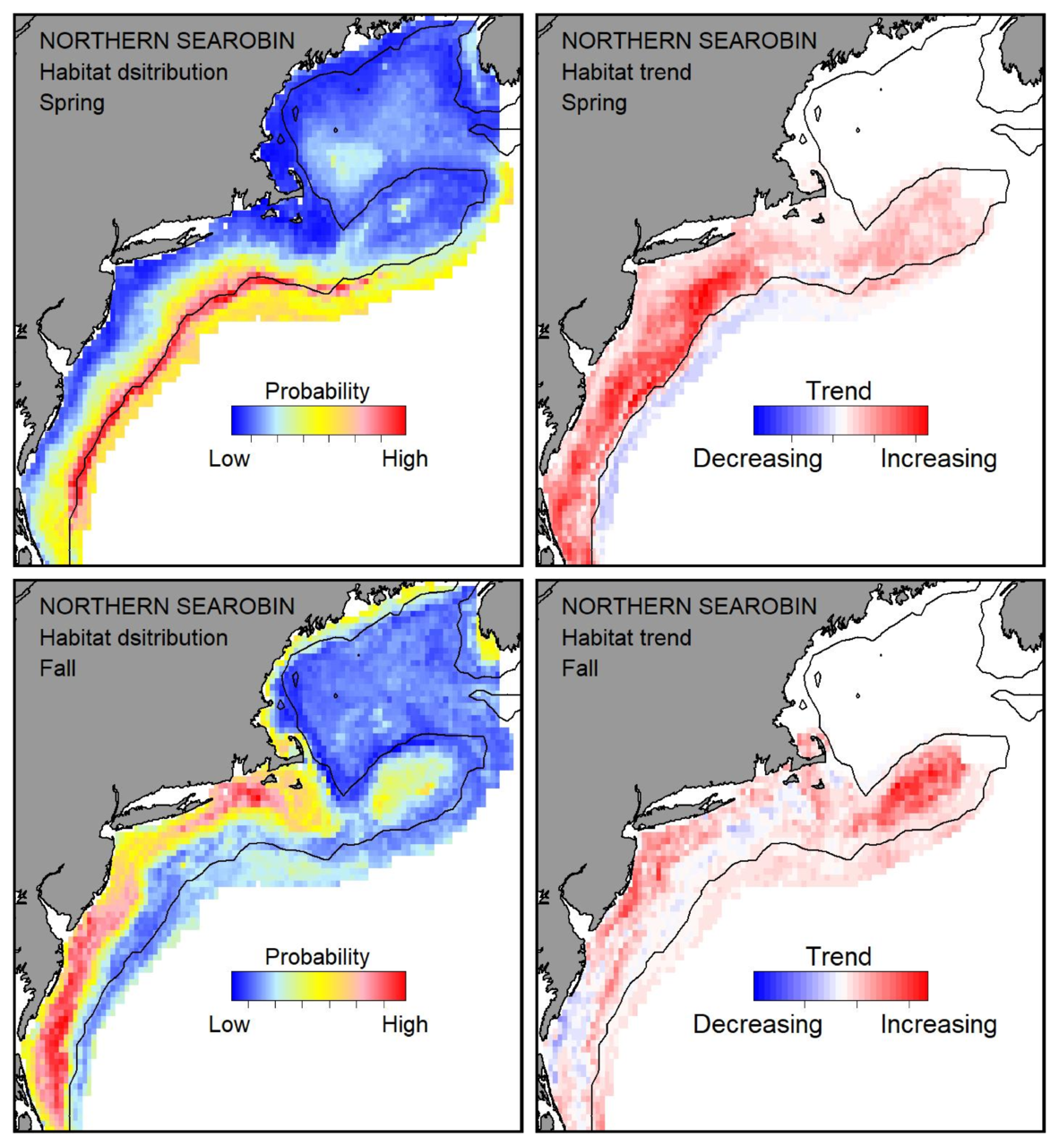 Probable habitat distribution for northern searobin showing the highest concentration and increasing trend in the Gulf of Maine during the spring. Bottom row: Probable habitat distribution for northern searobin showing the highest concentration and increasing trend in the Gulf of Maine during the fall.