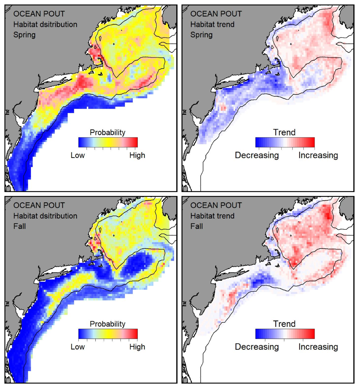 Probable habitat distribution for ocean pout showing the highest concentration and increasing trend in the Gulf of Maine during the spring. Bottom row: Probable habitat distribution for ocean pout showing the highest concentration and increasing trend in the Gulf of Maine during the fall.