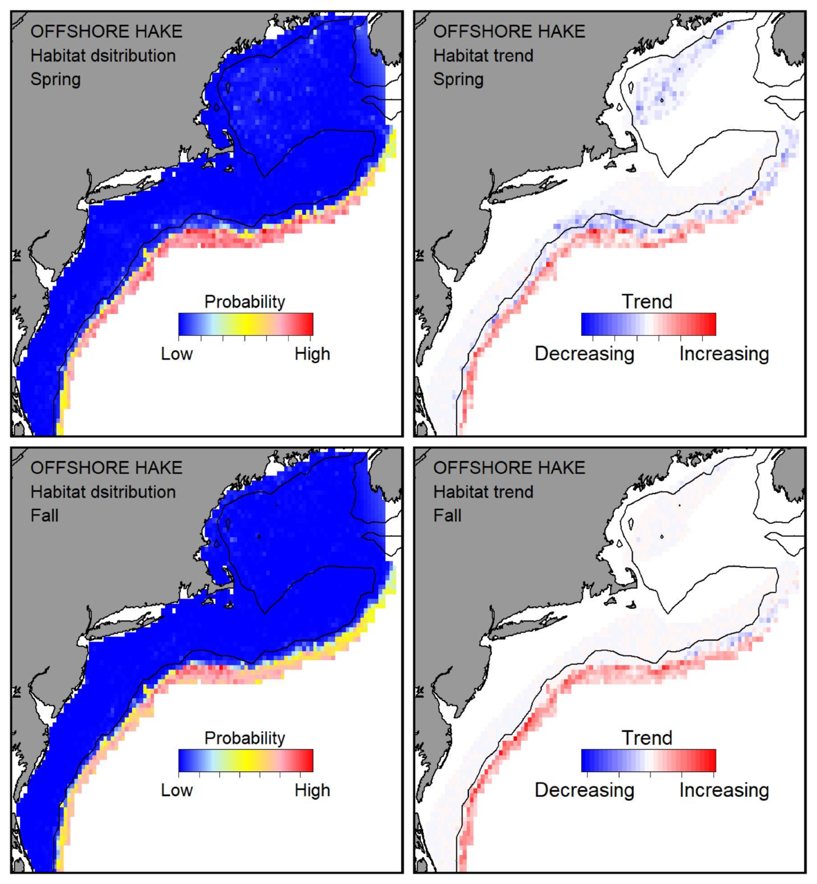Top row: Probable habitat distribution for offshore hake showing the highest concentration and increasing trend in the Gulf of Maine during the spring. Bottom row: Probable habitat distribution for offshore hake showing the highest concentration and increasing trend in the Gulf of Maine during the fall.