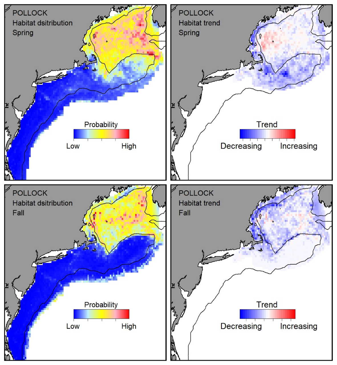 Top row: Probable habitat distribution for pollock showing the highest concentration and increasing trend in the Gulf of Maine during the spring. Bottom row: Probable habitat distribution for pollock showing the highest concentration and increasing trend in the Gulf of Maine during the fall.