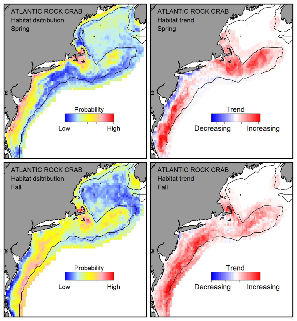 Probable habitat distribution for Atlantic rock crab showing the highest concentration and increasing trend in the Gulf of Maine during the spring. Bottom row: Probable habitat distribution for Atlantic rock crab showing the highest concentration and increasing trend in the Gulf of Maine during the fall.