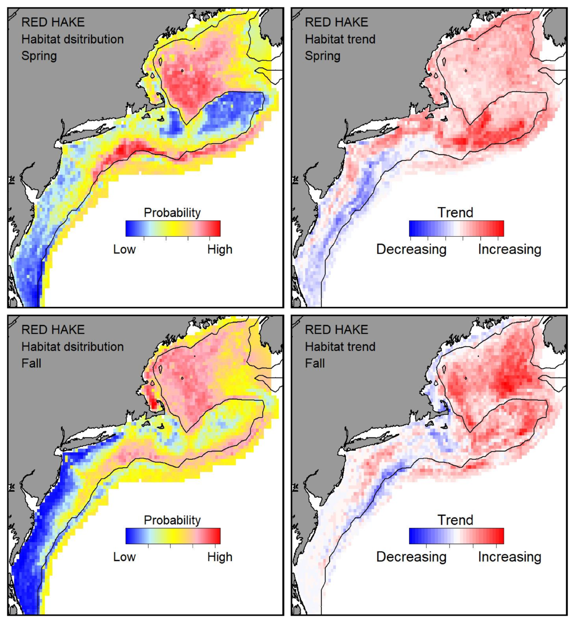 Top row: Probable habitat distribution for red hake showing the highest concentration and increasing trend in the Gulf of Maine during the spring. Bottom row: Probable habitat distribution for red hake showing the highest concentration and increasing trend in the Gulf of Maine during the fall.