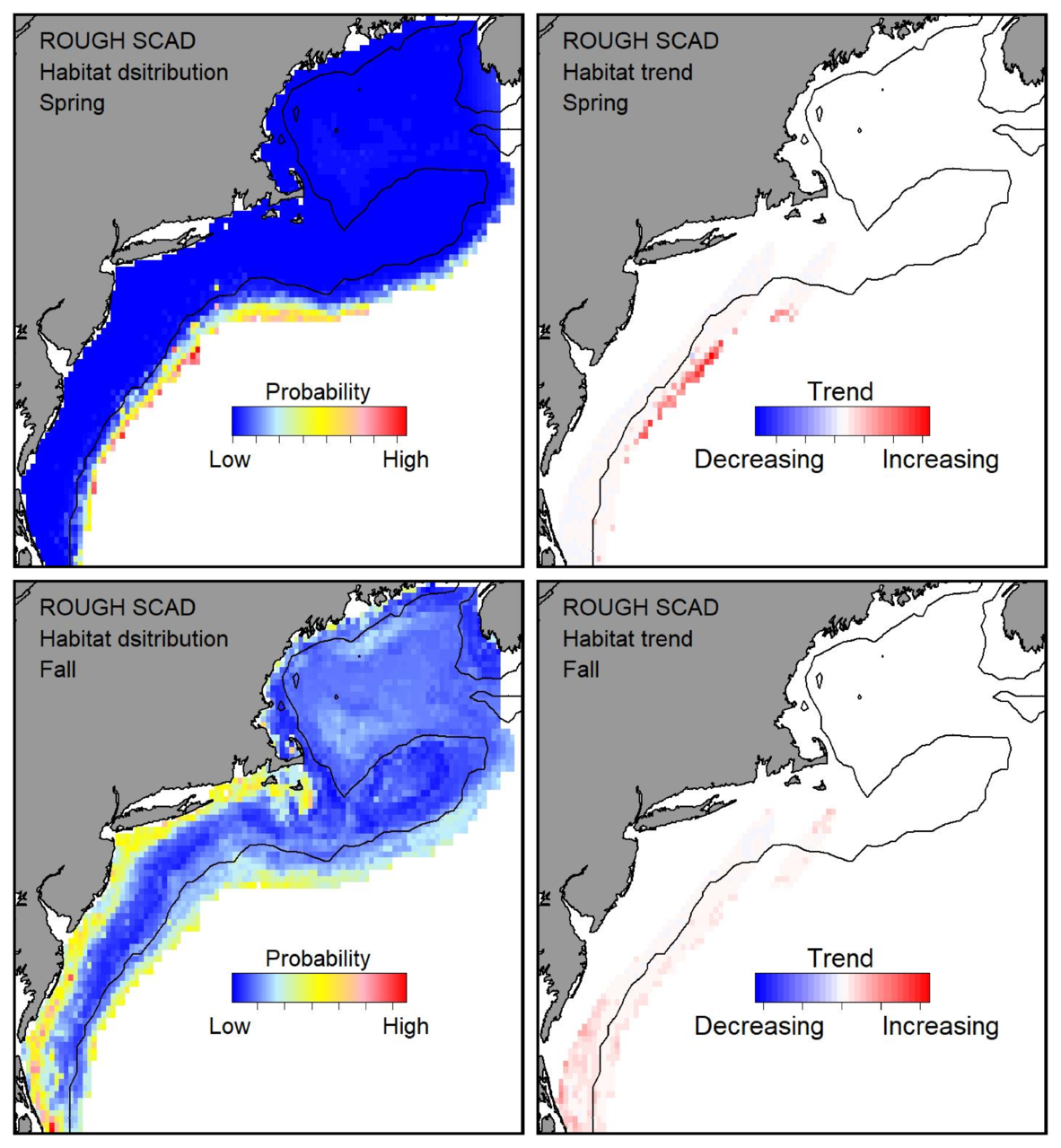 Probable habitat distribution for rough scad showing the highest concentration and increasing trend in the Gulf of Maine during the spring. Bottom row: Probable habitat distribution for rough scad showing the highest concentration and increasing trend in the Gulf of Maine during the fall.