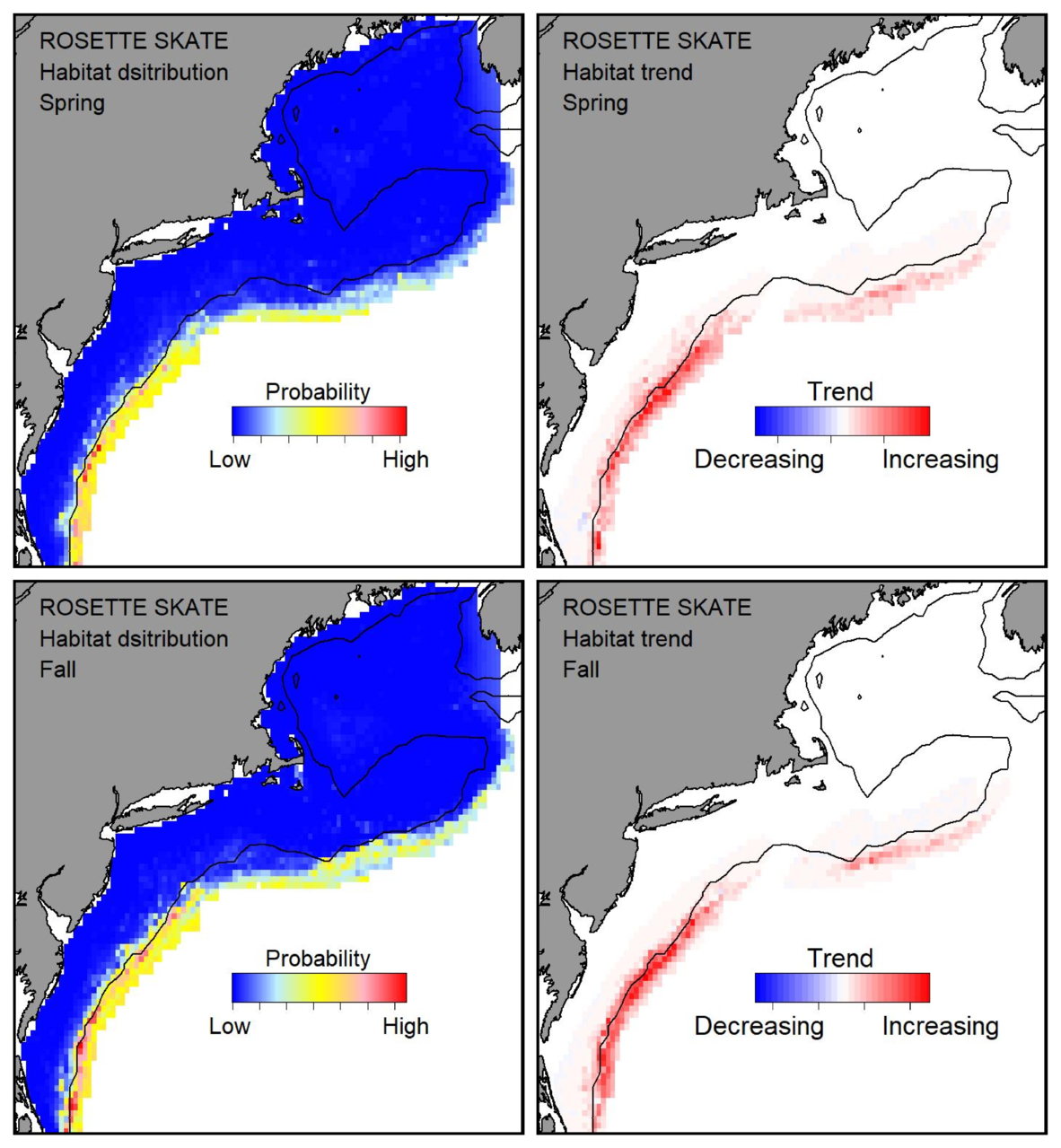 Top row: Probable habitat distribution for rosette skate showing the highest concentration and increasing trend in the Gulf of Maine during the spring. Bottom row: Probable habitat distribution for rosette skate showing the highest concentration and increasing trend in the Gulf of Maine during the fall.