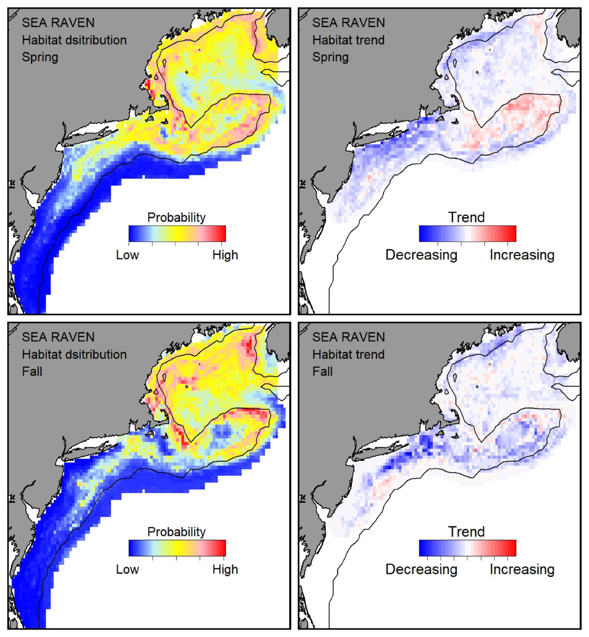 Probable habitat distribution for sea raven showing the highest concentration and increasing trend in the Gulf of Maine during the spring. Bottom row: Probable habitat distribution for sea raven showing the highest concentration and increasing trend in the Gulf of Maine during the fall.