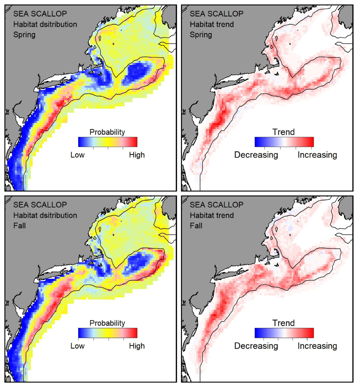 Probable habitat distribution for sea scallop showing the highest concentration and increasing trend in the Gulf of Maine during the spring. Bottom row: Probable habitat distribution for sea scallop showing the highest concentration and increasing trend in the Gulf of Maine during the fall.