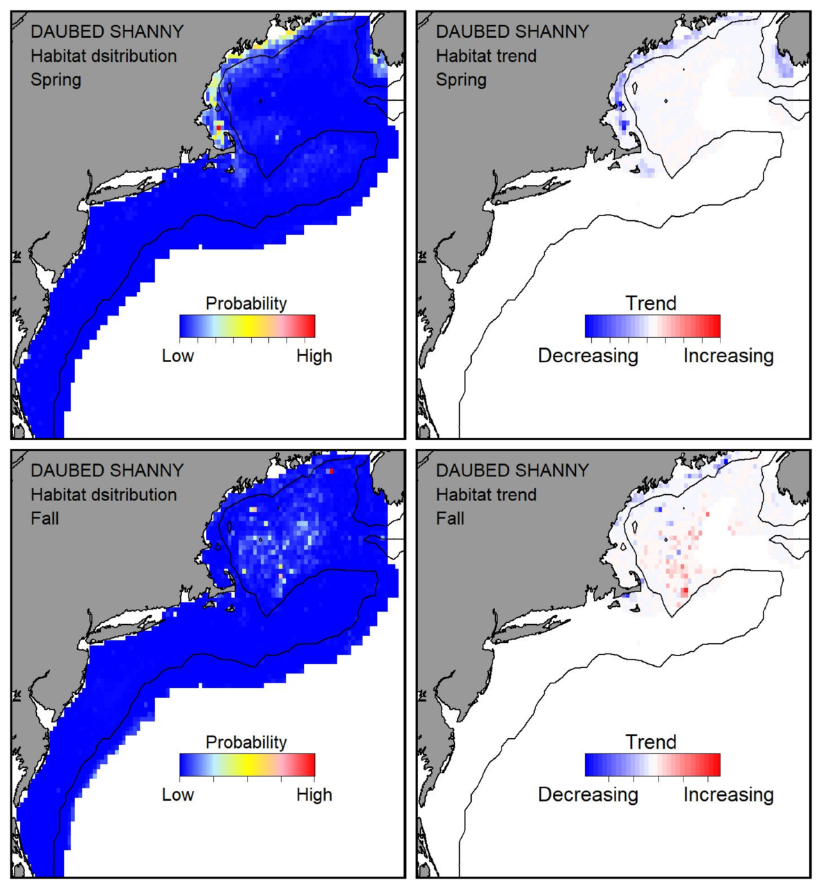 Probable habitat distribution for daubed shanny showing the highest concentration and increasing trend in the Gulf of Maine during the spring. Bottom row: Probable habitat distribution for daubed shanny showing the highest concentration and increasing trend in the Gulf of Maine during the fall.