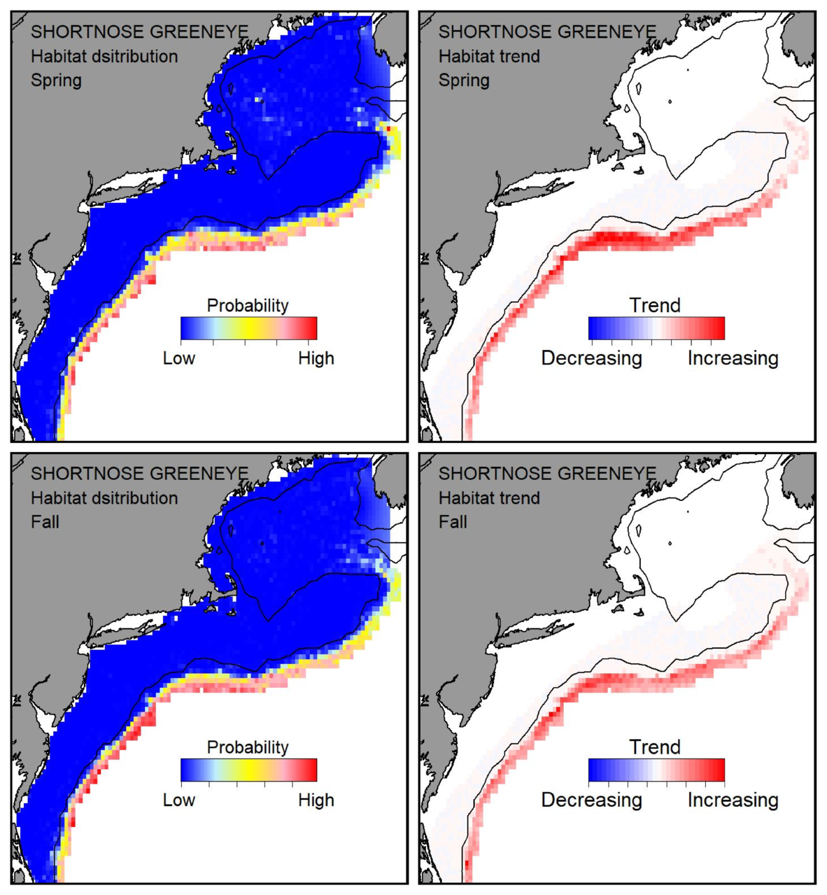 Probable habitat distribution for shortnose greeneye showing the highest concentration and increasing trend in the Gulf of Maine during the spring. Bottom row: Probable habitat distribution for shortnose greeneye showing the highest concentration and increasing trend in the Gulf of Maine during the fall.