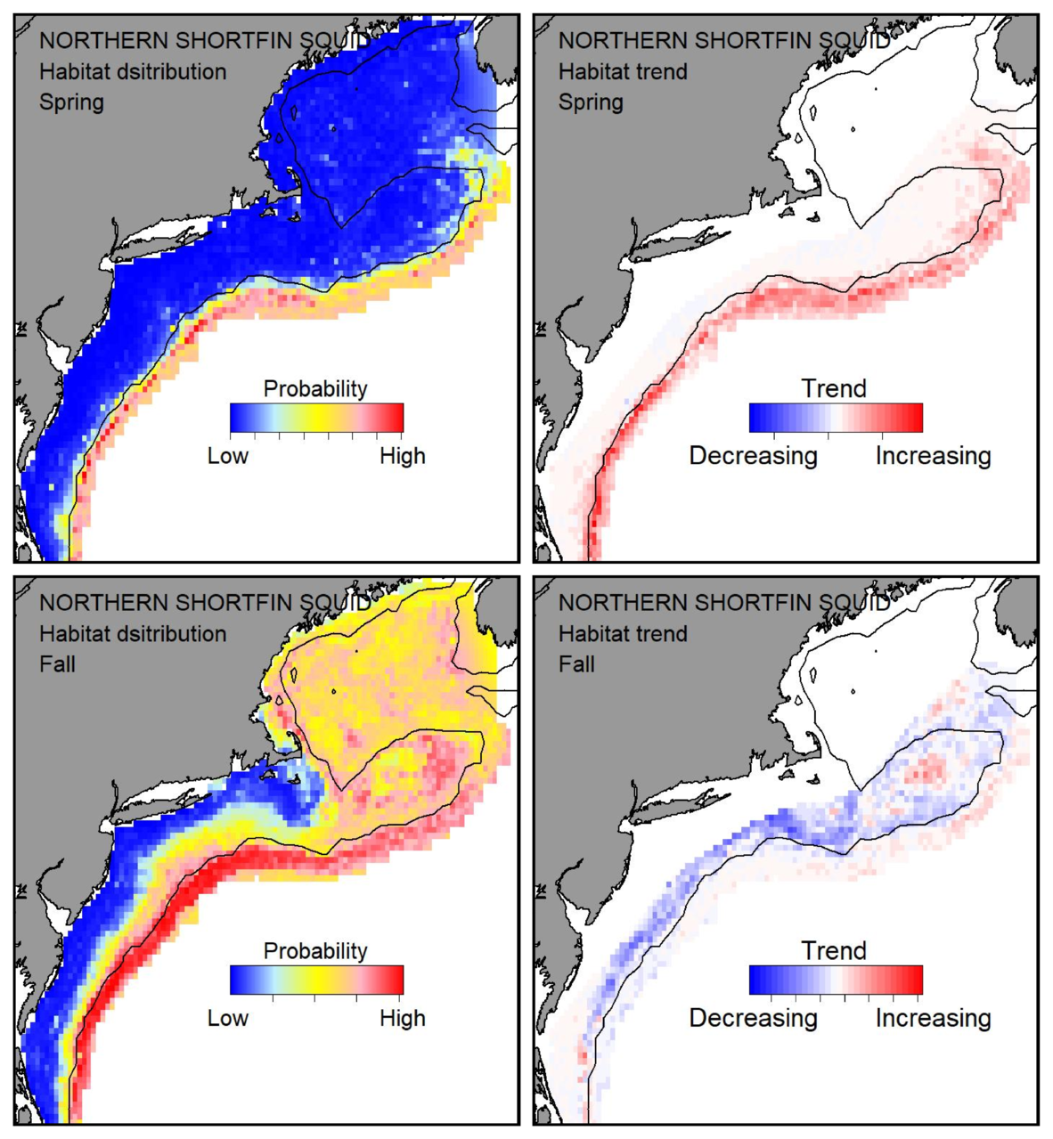 Probable habitat distribution for shortfin squid showing the highest concentration and increasing trend in the Gulf of Maine during the spring. Bottom row: Probable habitat distribution for shortfin squid showing the highest concentration and increasing trend in the Gulf of Maine during the fall.