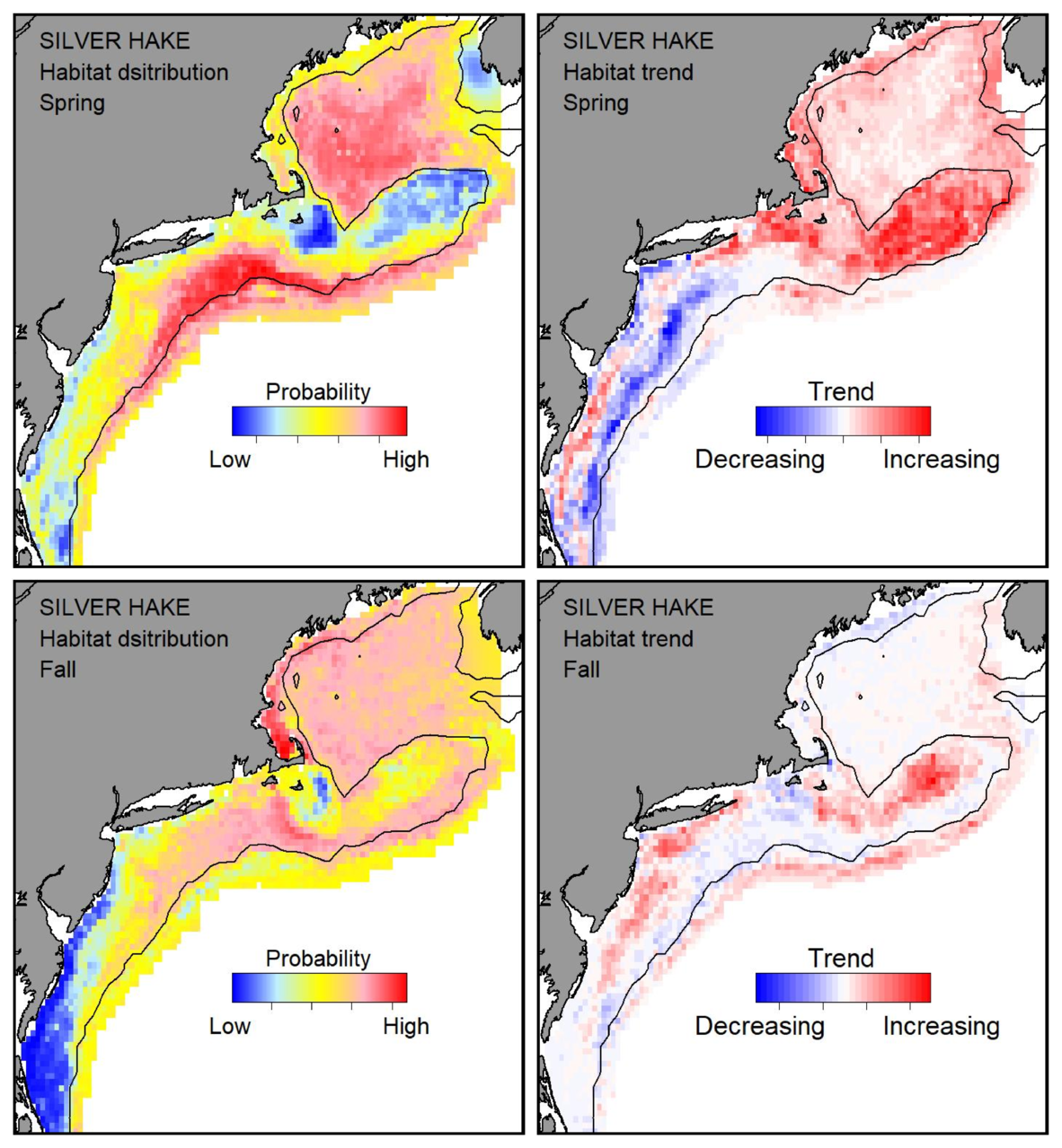 Top row: Probable habitat distribution for silver hake showing the highest concentration and increasing trend in the Gulf of Maine during the spring. Bottom row: Probable habitat distribution for silver hake showing the highest concentration and increasing trend in the Gulf of Maine during the fall.