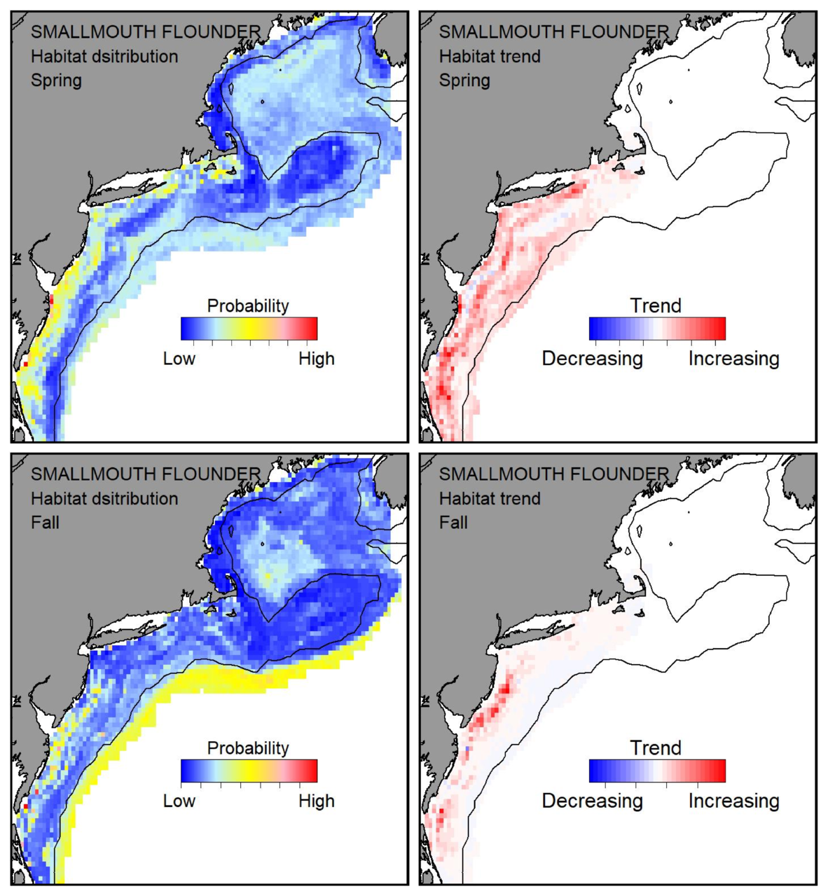 Probable habitat distribution for smallmouth flounder showing the highest concentration and increasing trend in the Gulf of Maine during the spring. Bottom row: Probable habitat distribution for smallmouth flounder showing the highest concentration and increasing trend in the Gulf of Maine during the fall.