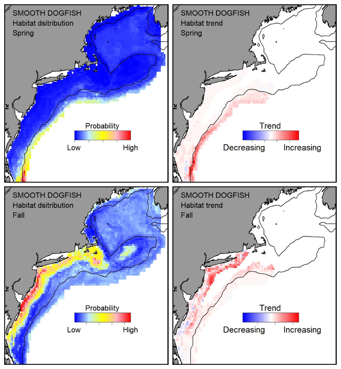 Top row: Probable habitat distribution for smooth dogfish showing the highest concentration and increasing trend in the Gulf of Maine during the spring. Bottom row: Probable habitat distribution for smooth dogfish showing the highest concentration and increasing trend in the Gulf of Maine during the fall.