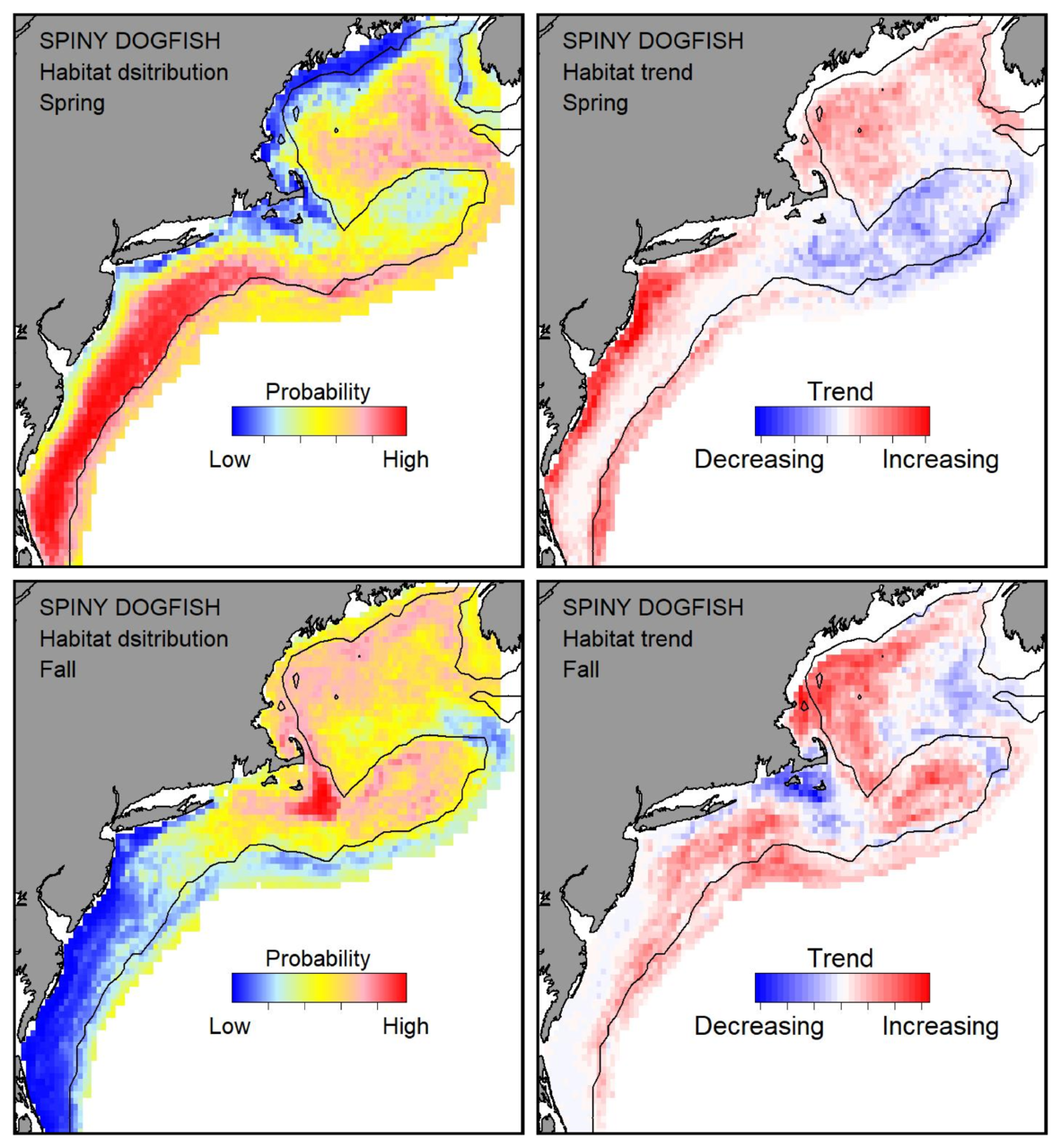 Top row: Probable habitat distribution for spiny dogfish showing the highest concentration and increasing trend in the Gulf of Maine during the spring. Bottom row: Probable habitat distribution for spiny dogfish showing the highest concentration and increasing trend in the Gulf of Maine during the fall.