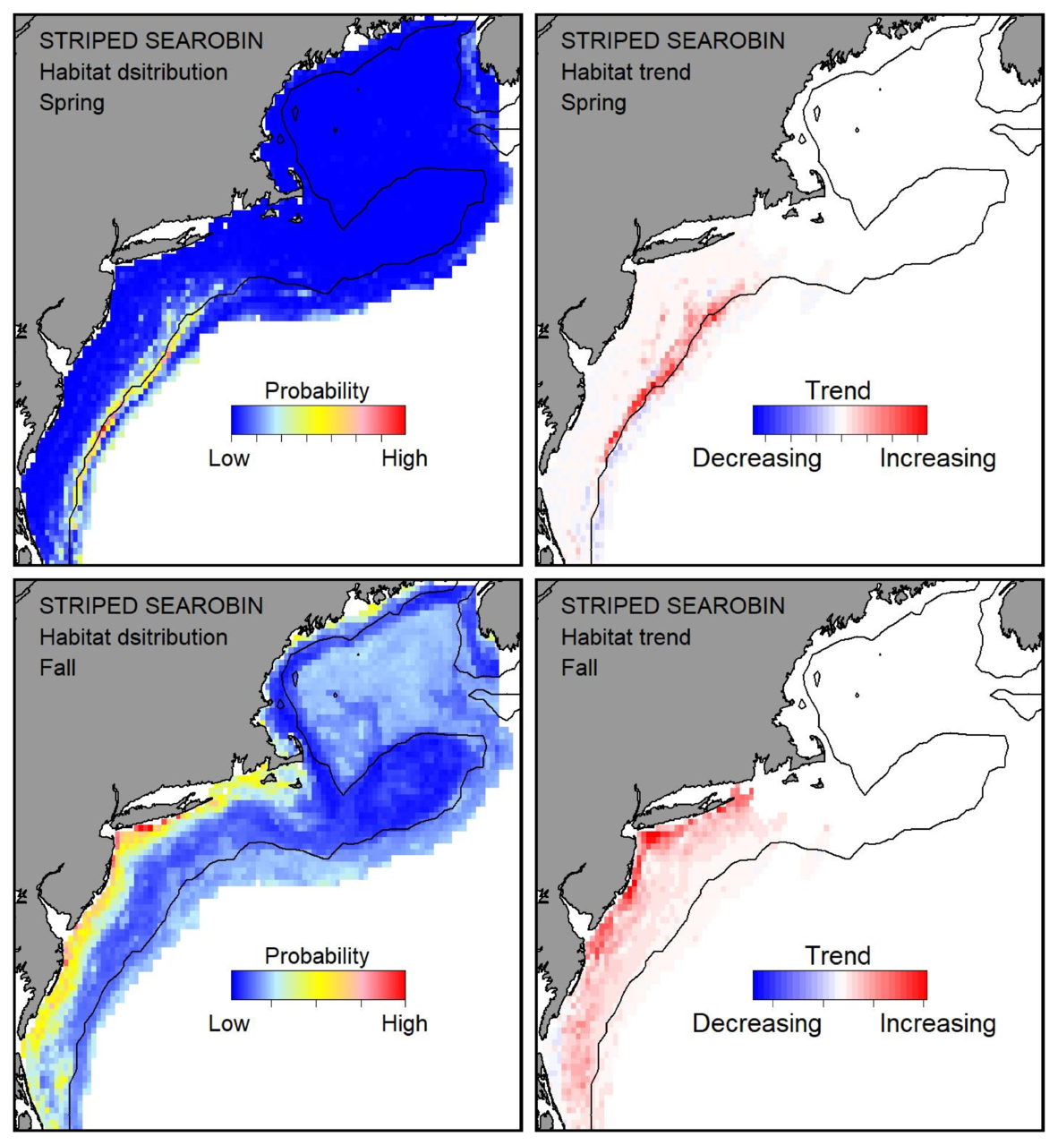 Probable habitat distribution for striped searobin showing the highest concentration and increasing trend in the Gulf of Maine during the spring. Bottom row: Probable habitat distribution for striped searobin showing the highest concentration and increasing trend in the Gulf of Maine during the fall.