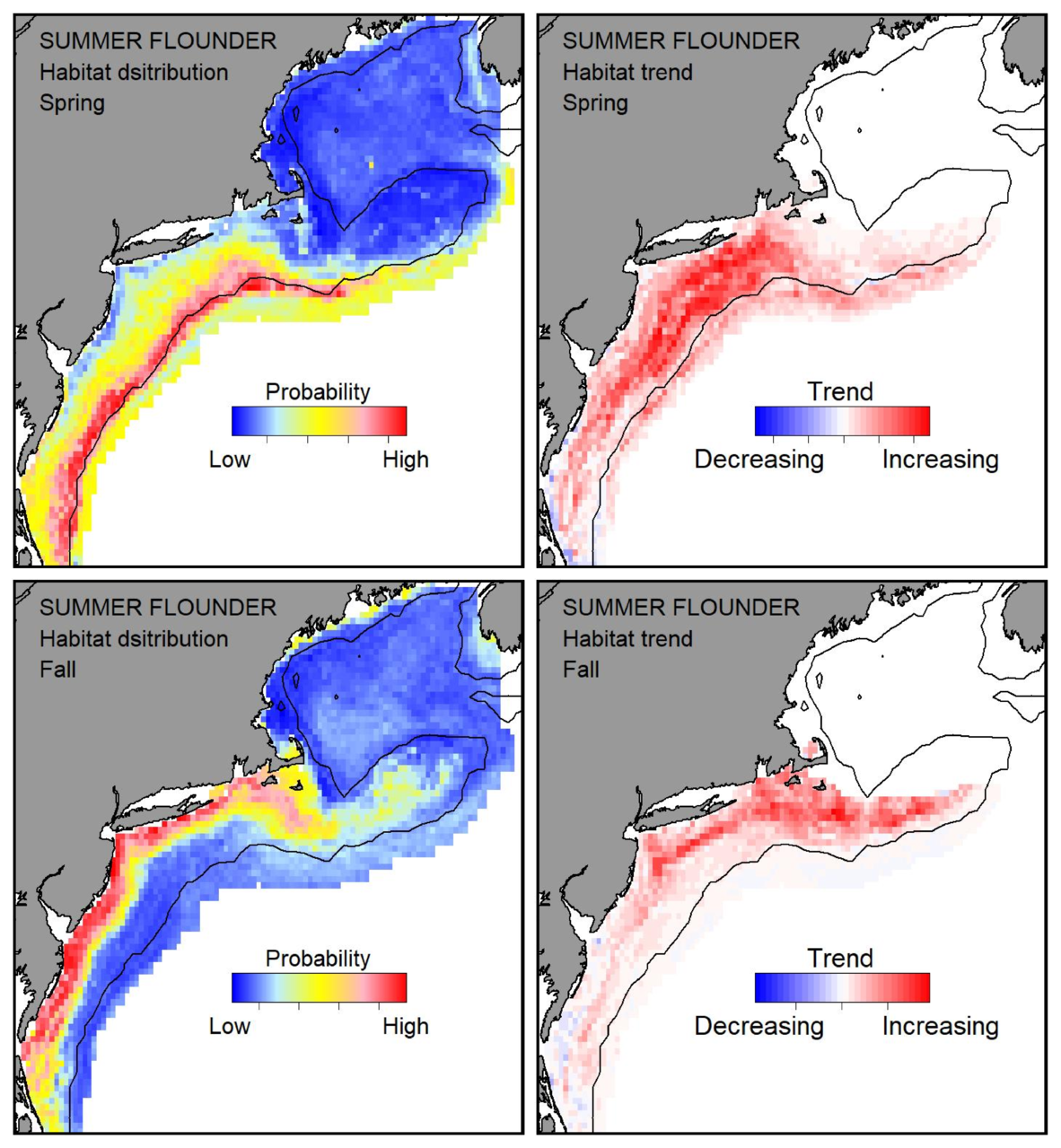 Probable habitat distribution for summer flounder showing the highest concentration and increasing trend in the Gulf of Maine during the spring. Bottom row: Probable habitat distribution for summer flounder showing the highest concentration and increasing trend in the Gulf of Maine during the fall.