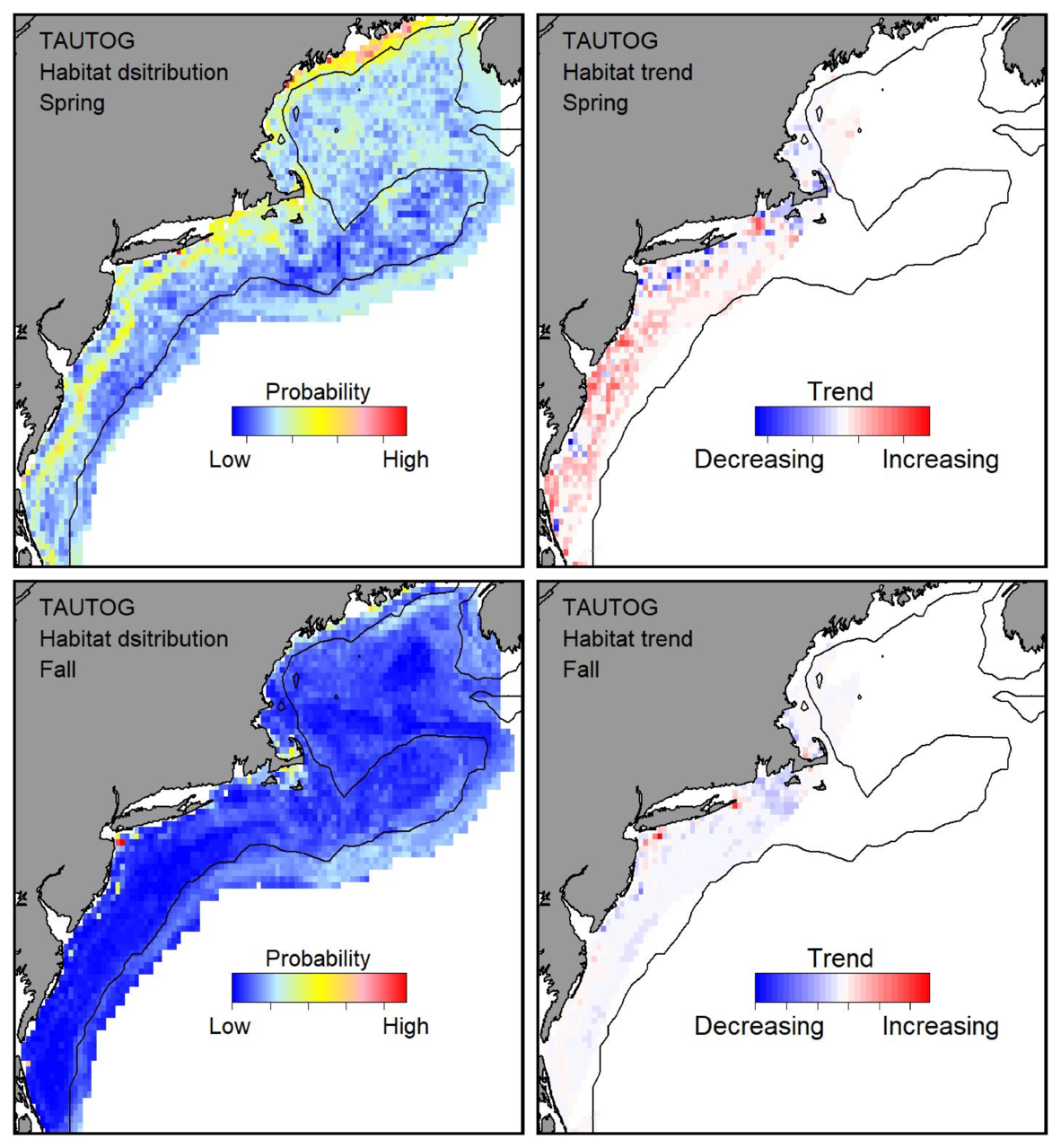 Probable habitat distribution for tautog showing the highest concentration and increasing trend in the Gulf of Maine during the spring. Bottom row: Probable habitat distribution for tautog showing the highest concentration and increasing trend in the Gulf of Maine during the fall.