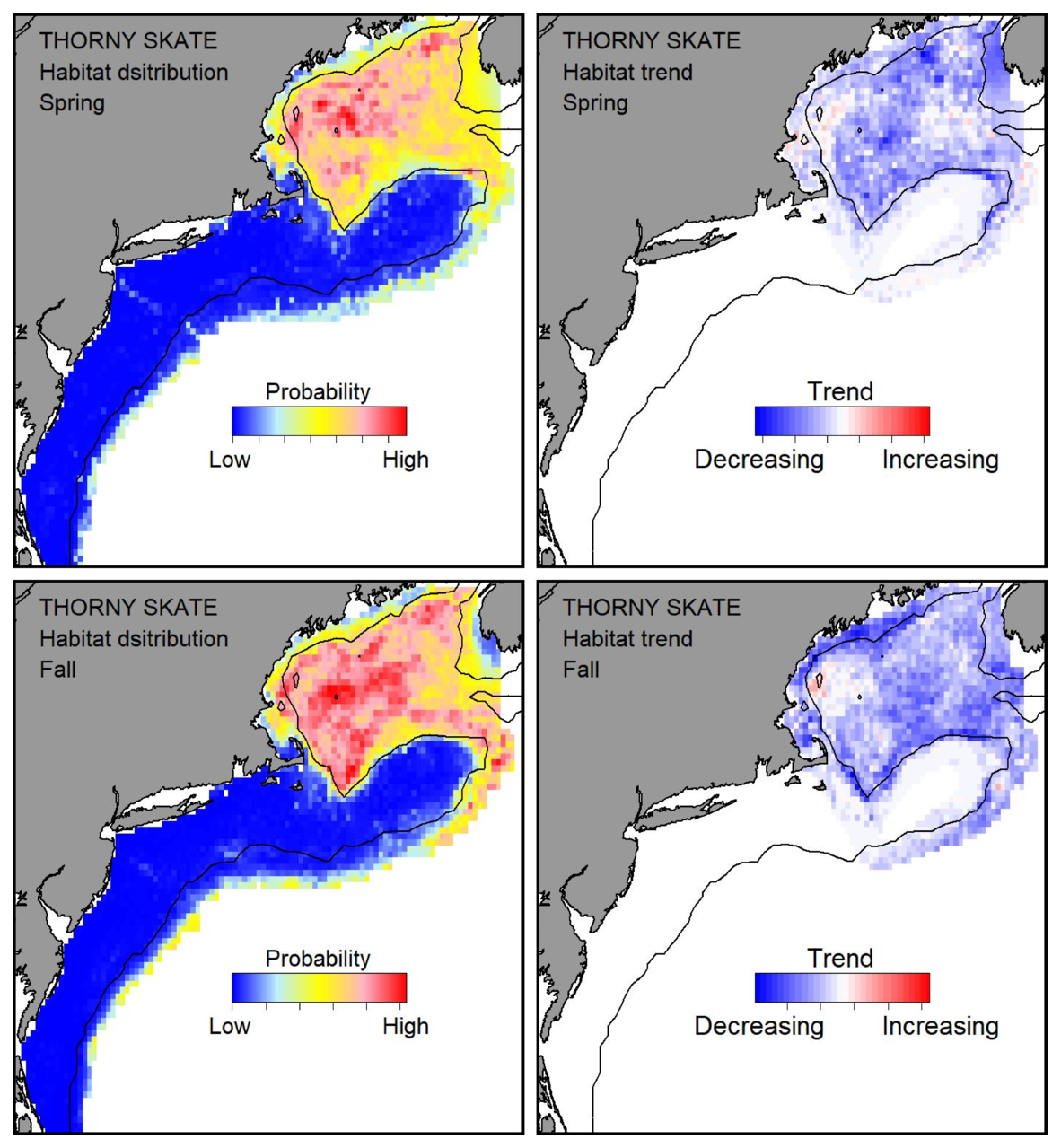 Top row: Probable habitat distribution for thorny skate showing the highest concentration and increasing trend in the Gulf of Maine during the spring. Bottom row: Probable habitat distribution for thorny skate showing the highest concentration and increasing trend in the Gulf of Maine during the fall.
