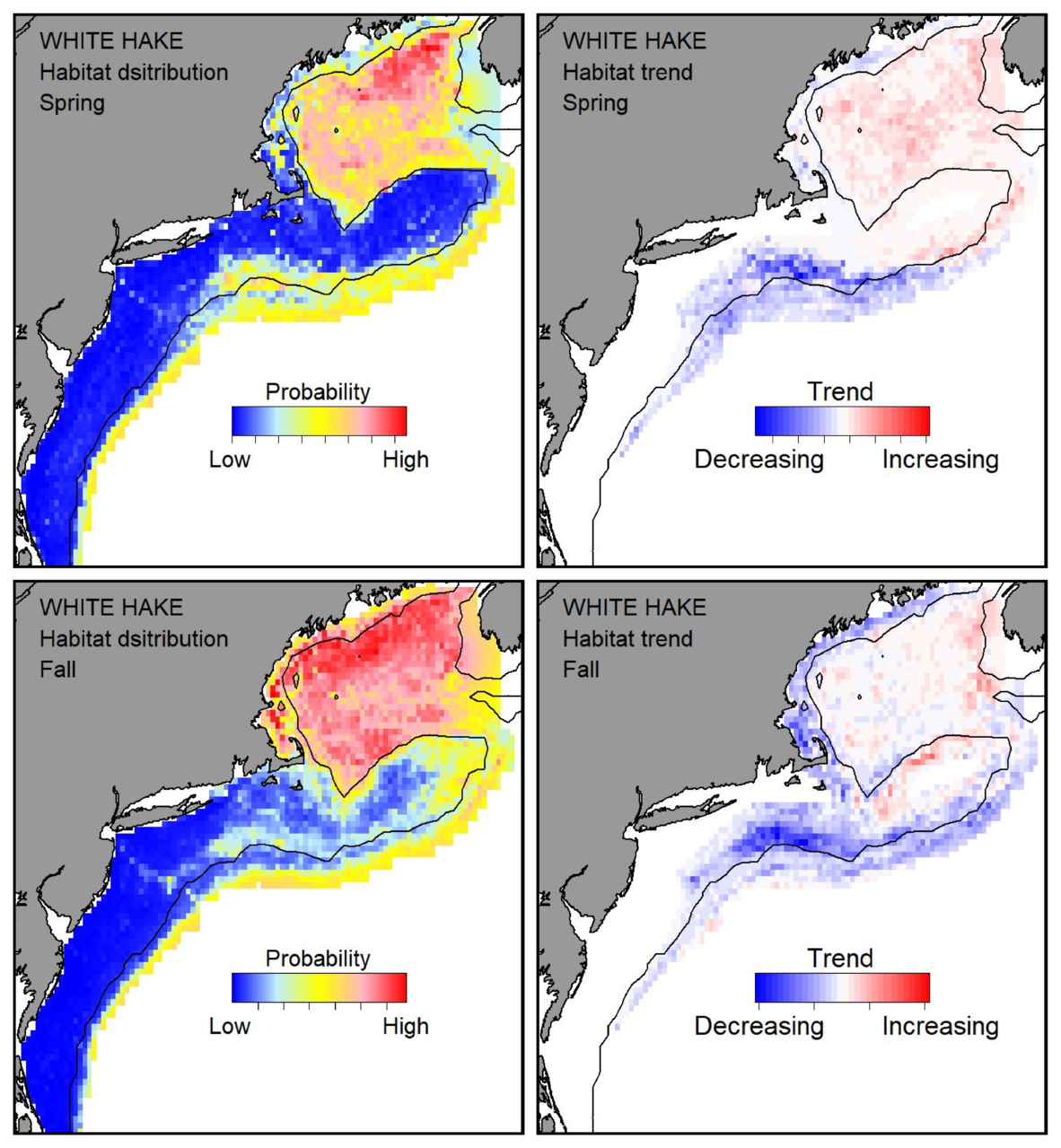 Top row: Probable habitat distribution for white hake showing the highest concentration and increasing trend in the Gulf of Maine during the spring. Bottom row: Probable habitat distribution for white hake showing the highest concentration and increasing trend in the Gulf of Maine during the fall.